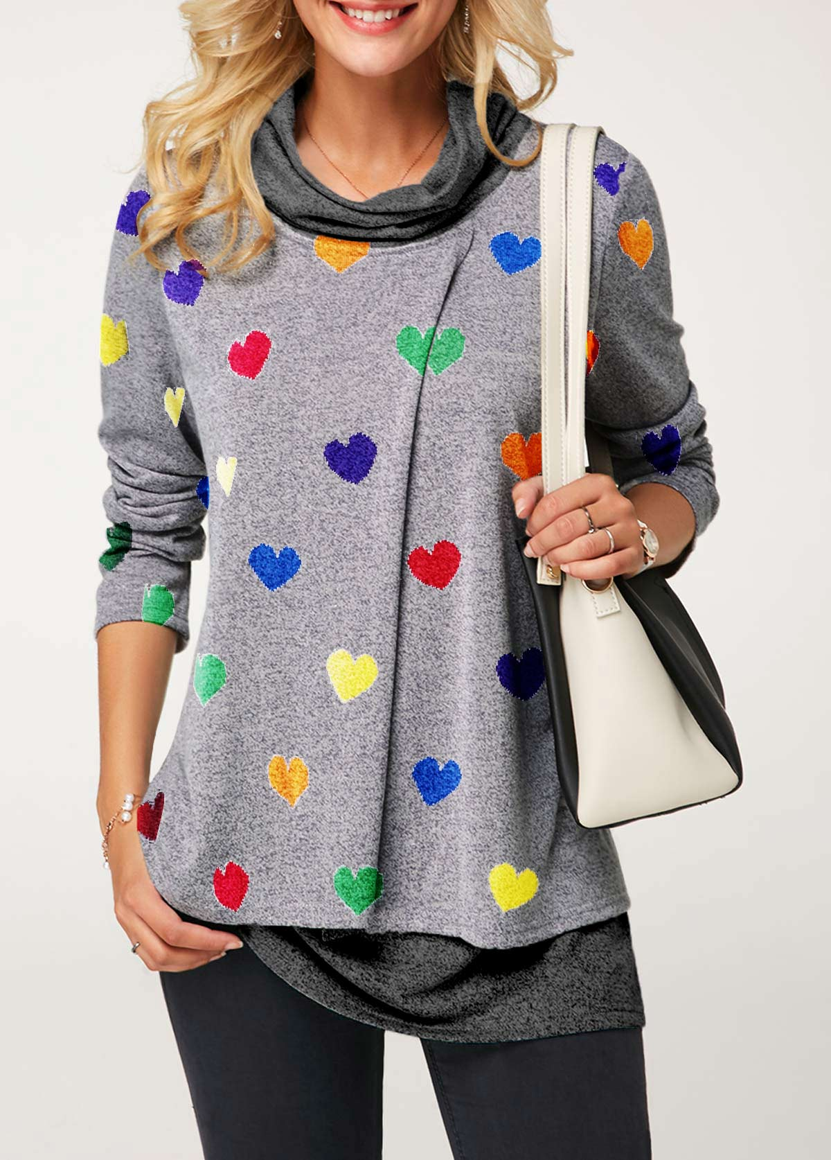 Cowl Neck Long Sleeve Heart Print T Shirt
