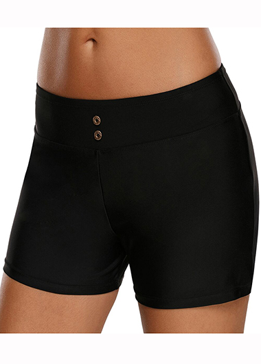 Solid Black Mid Waist Swimwear Shorts