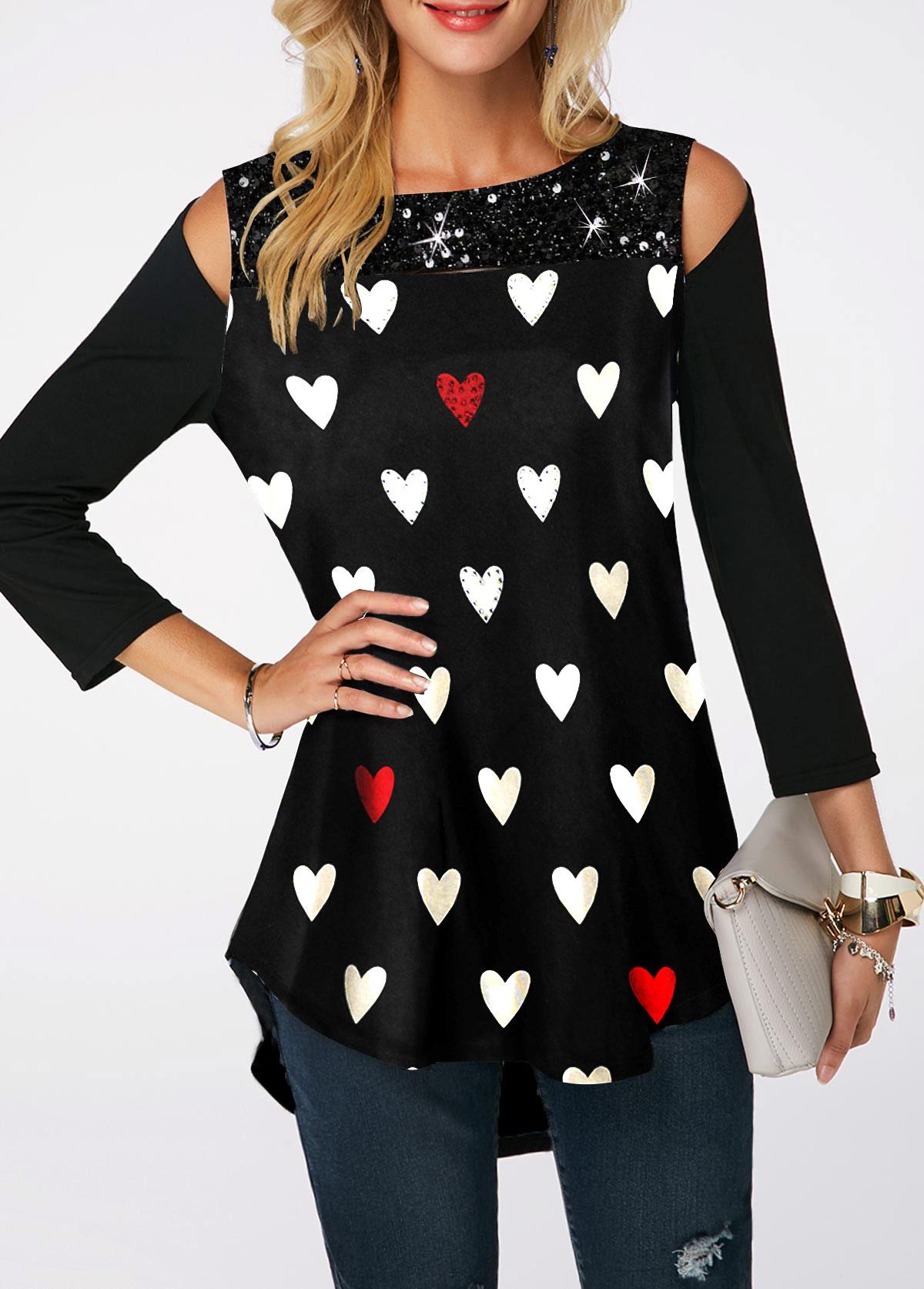 Heart Print Sequin Embellished Cold Shoulder T Shirt