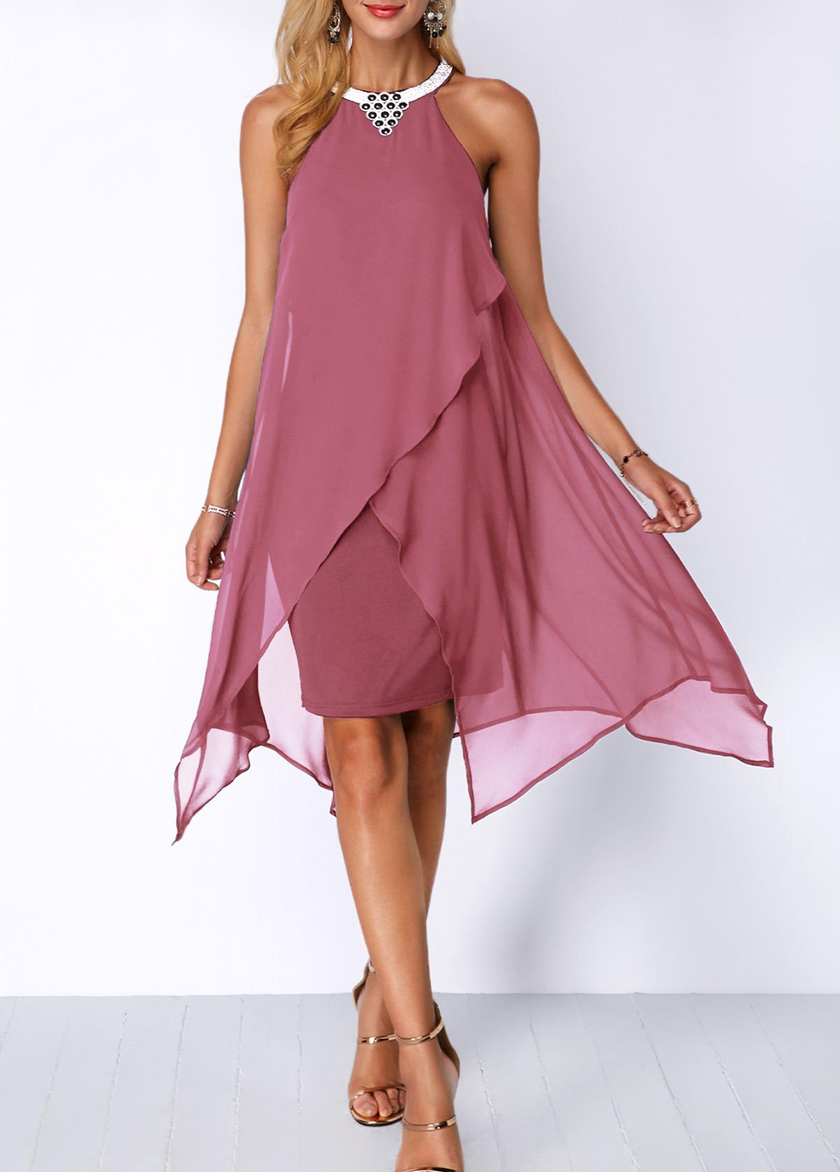Embellished Neck Asymmetric Hem Chiffon Overlay Dress