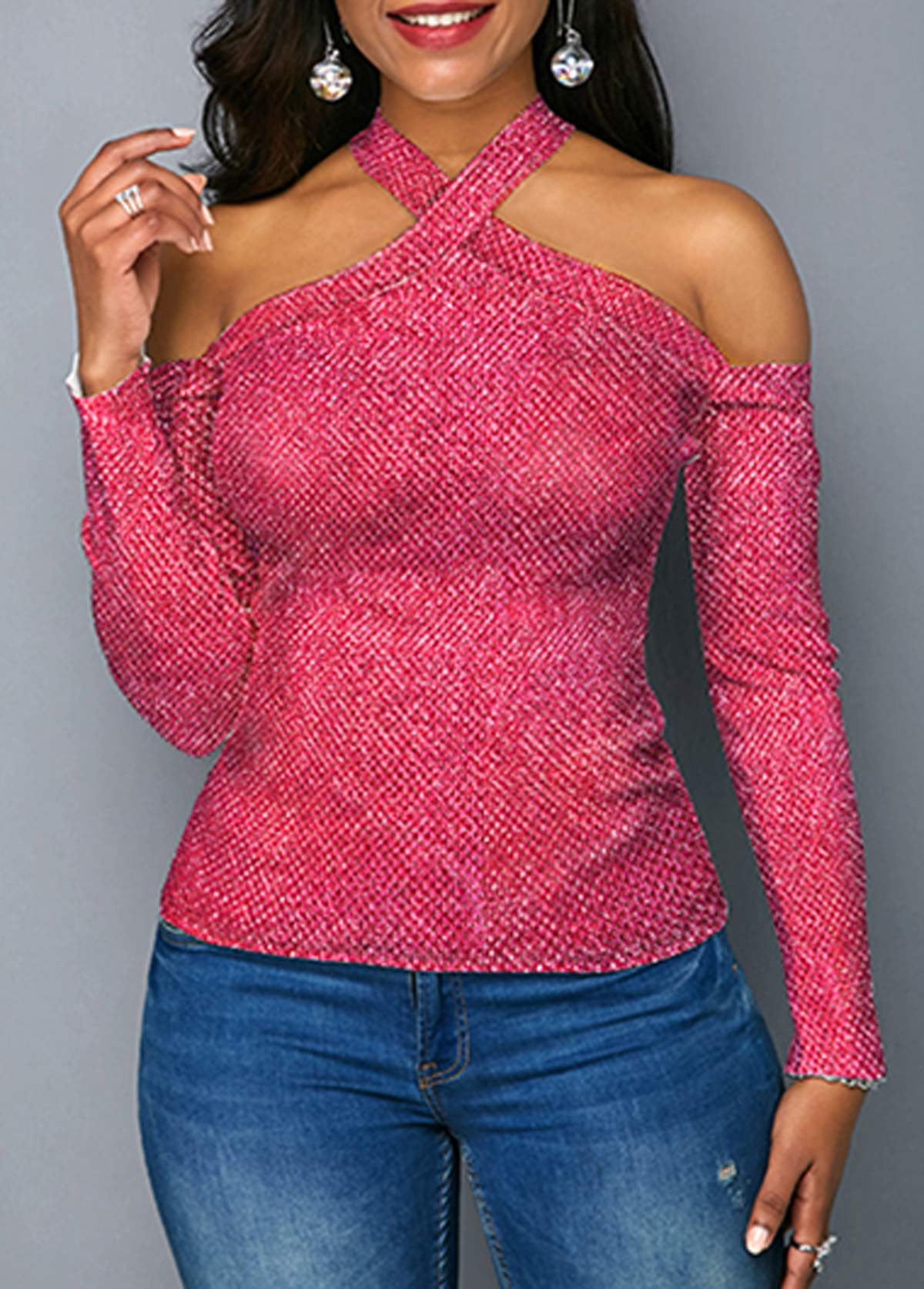 Rose Pink Cold Shoulder Long Sleeve Sweater