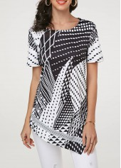 Short Sleeve Asymmetric Hem Geometric Print T Shirt