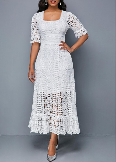 Short Sleeve Square Collar White Lace Dress