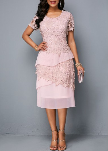 e63f934c61dc7d -65%. Quick Shop. Added Successfully. Round Neck Short Sleeve Zipper Back  Lace Dress