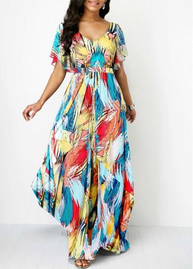 V Back Butterfly Sleeve Printed Dress