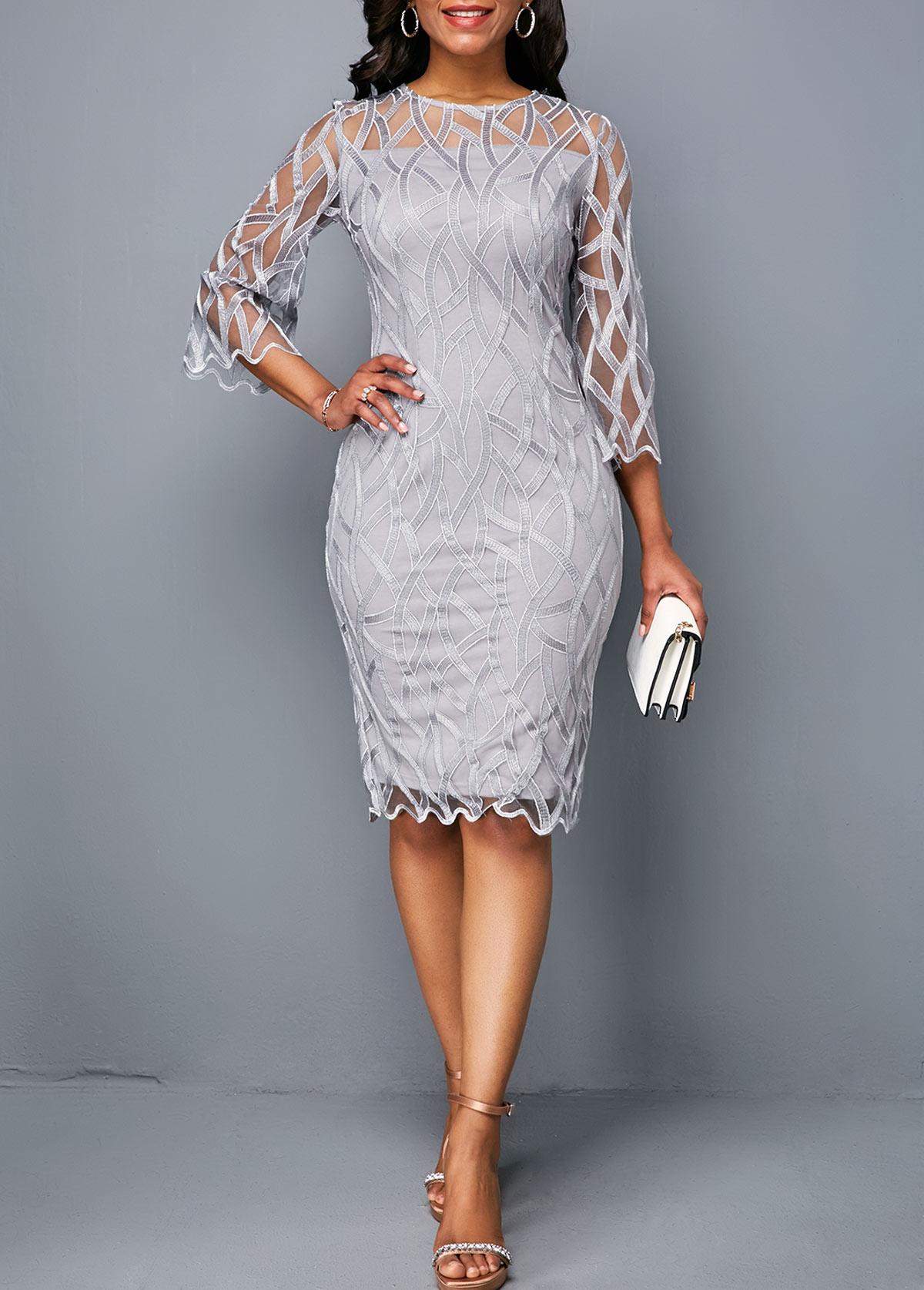 Three Quarter Sleeve Round Neck Light Grey Dress