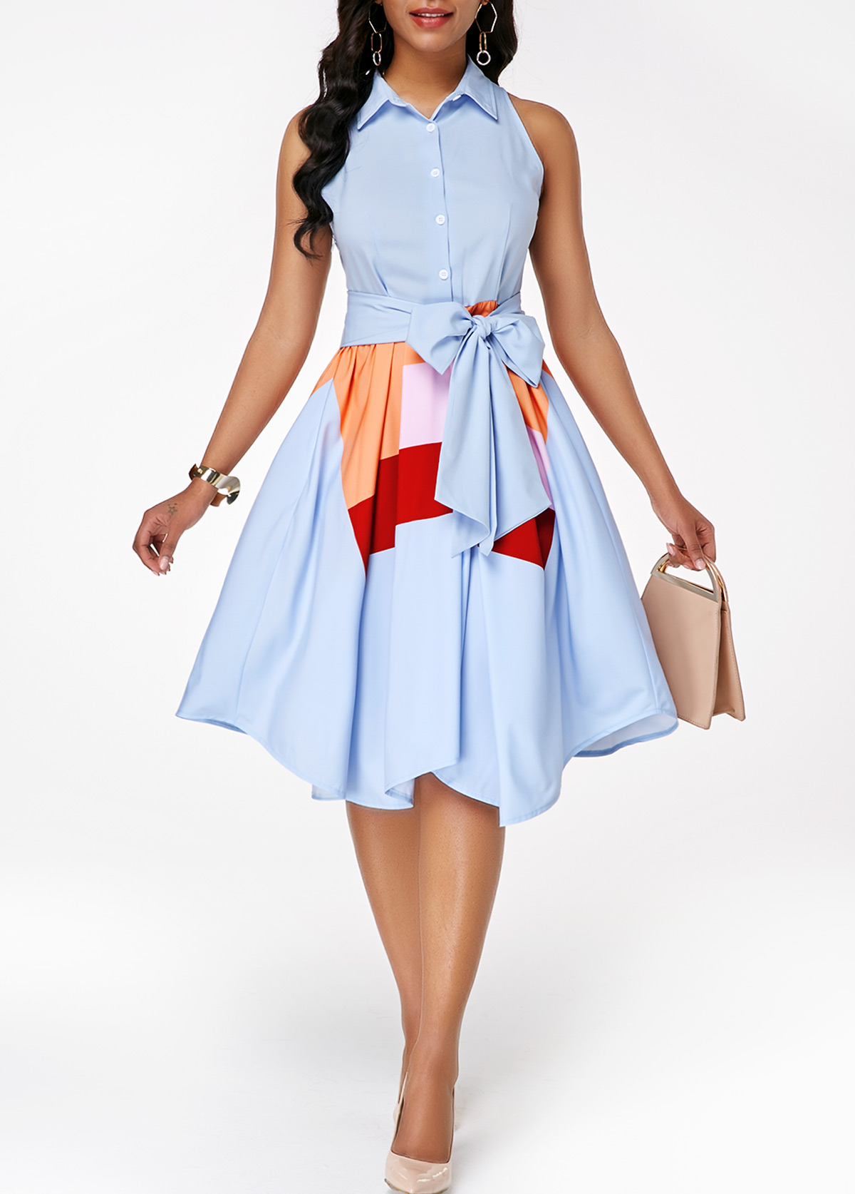 Sleeveless Button Front Asymmetric Hem Belted Dress