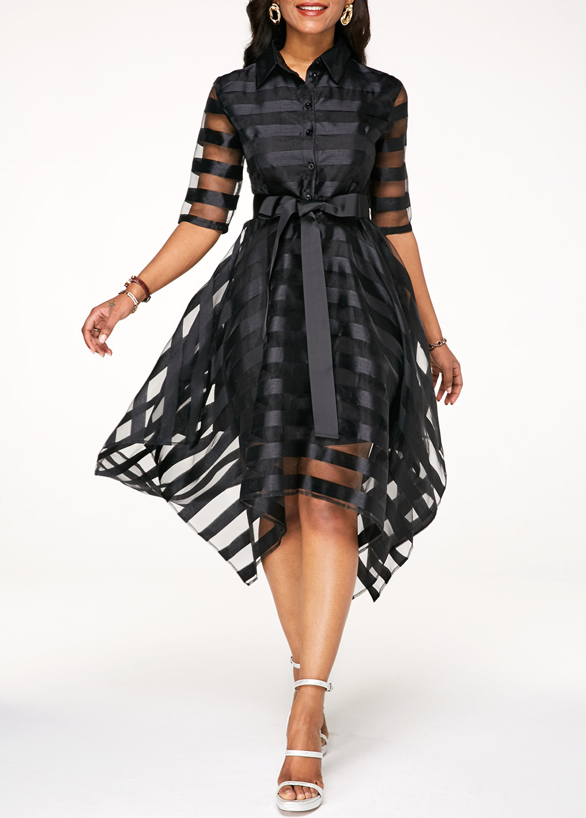 Asymmetric Hem Sheer Striped Half Sleeve Belted Dress