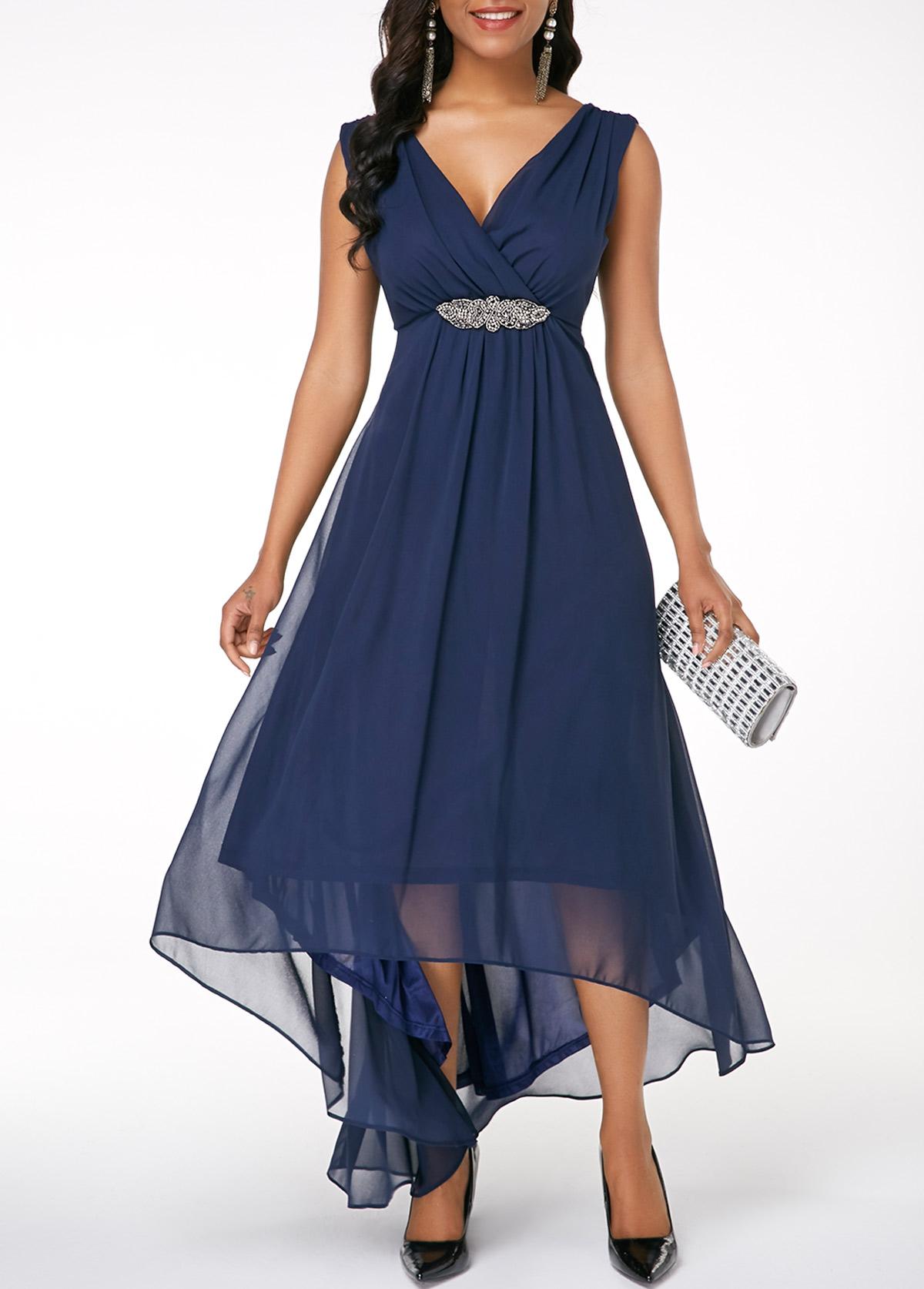 d3291b6fd3f Sleeveless High Low Navy Blue Dress