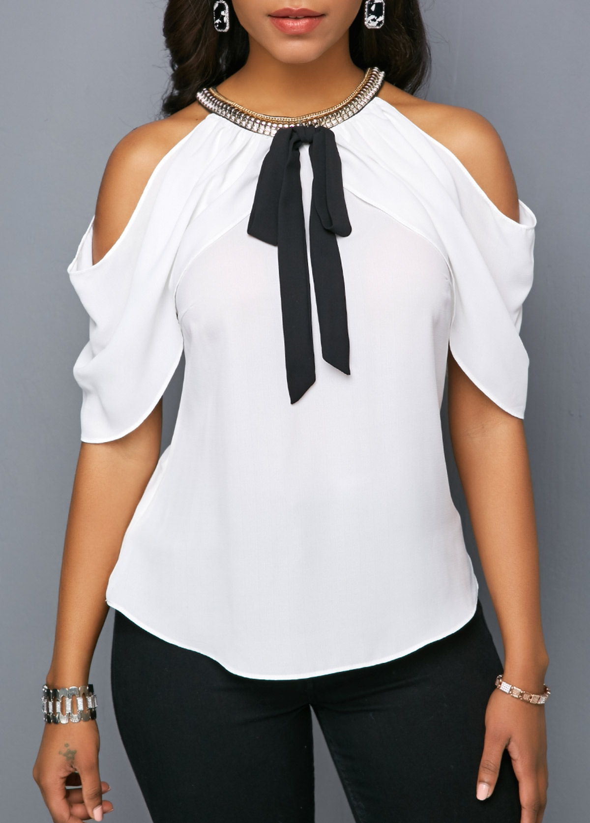 Cold Shoulder Embellished Neck Bowknot Detail Blouse