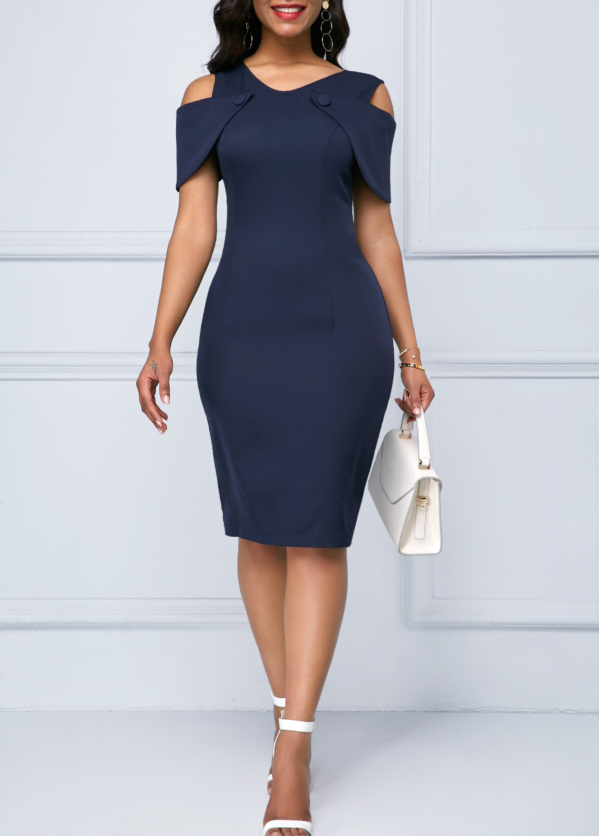 Cold Shoulder Lace Patchwork Navy Blue Sheath Dress