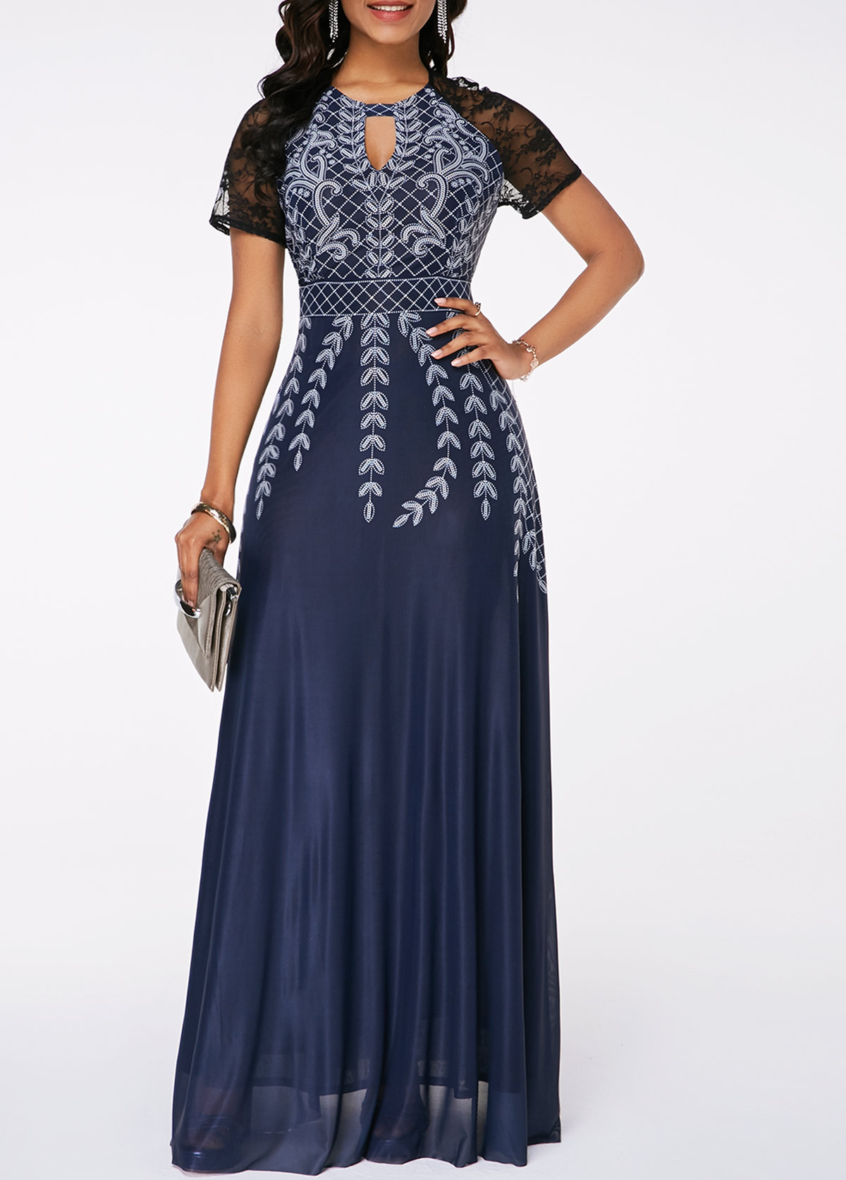Lace Panel High Waist Printed Maxi Dress