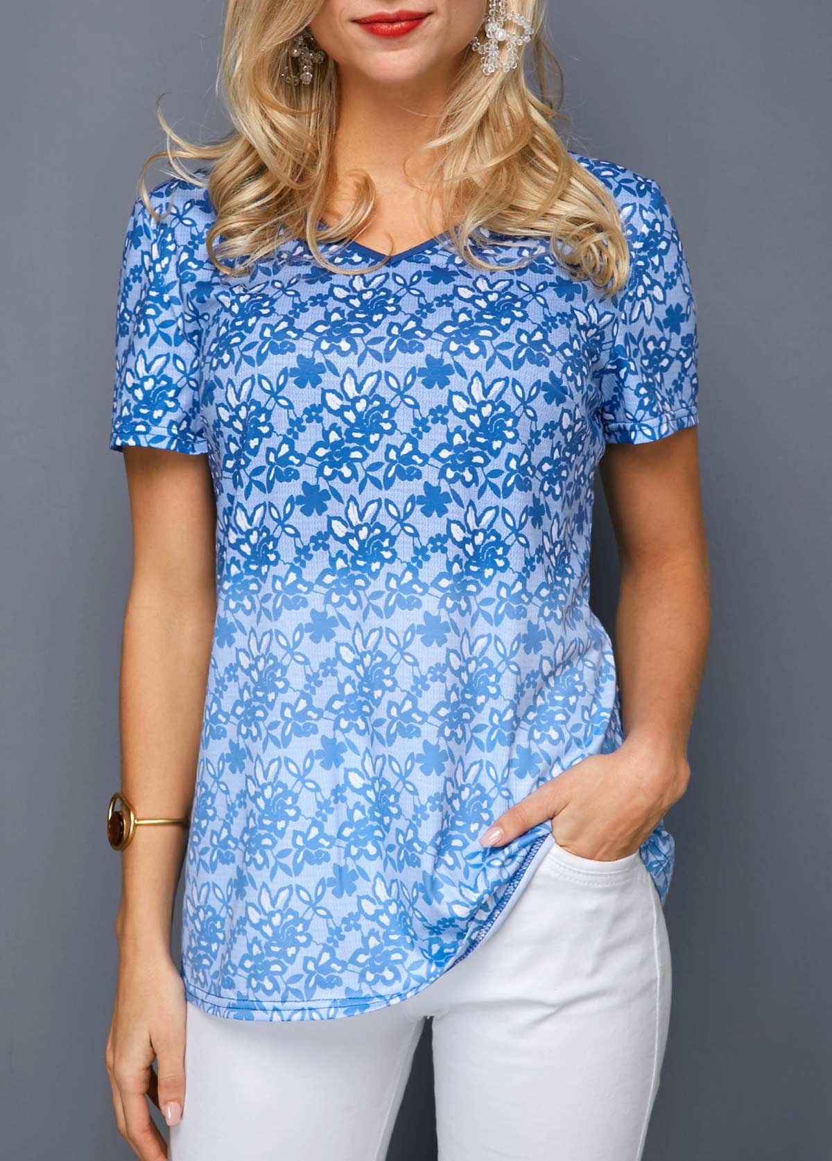 V Neck Blue Gradient Printed T Shirt