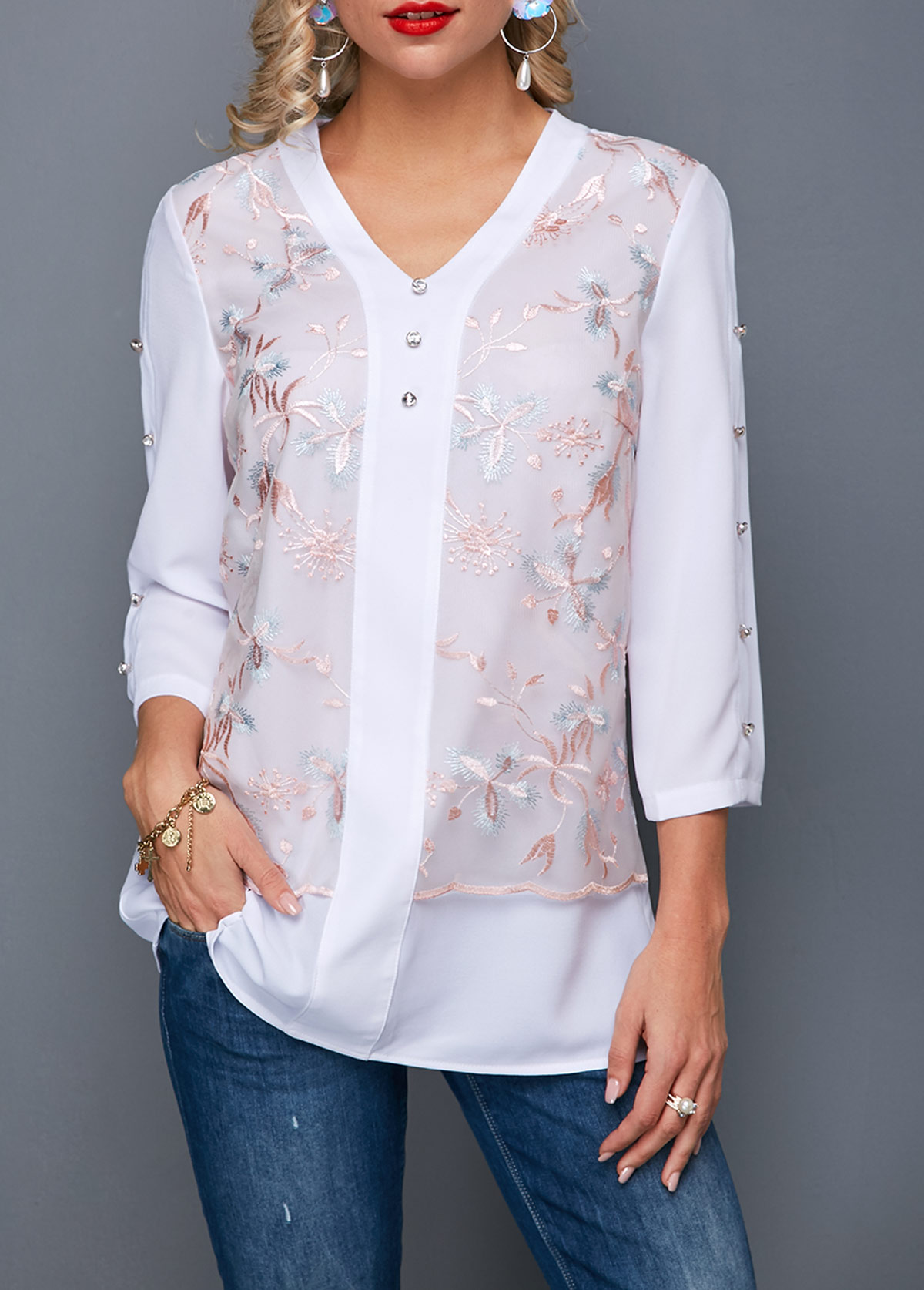 V Neck Lace Panel Button Detail Blouse