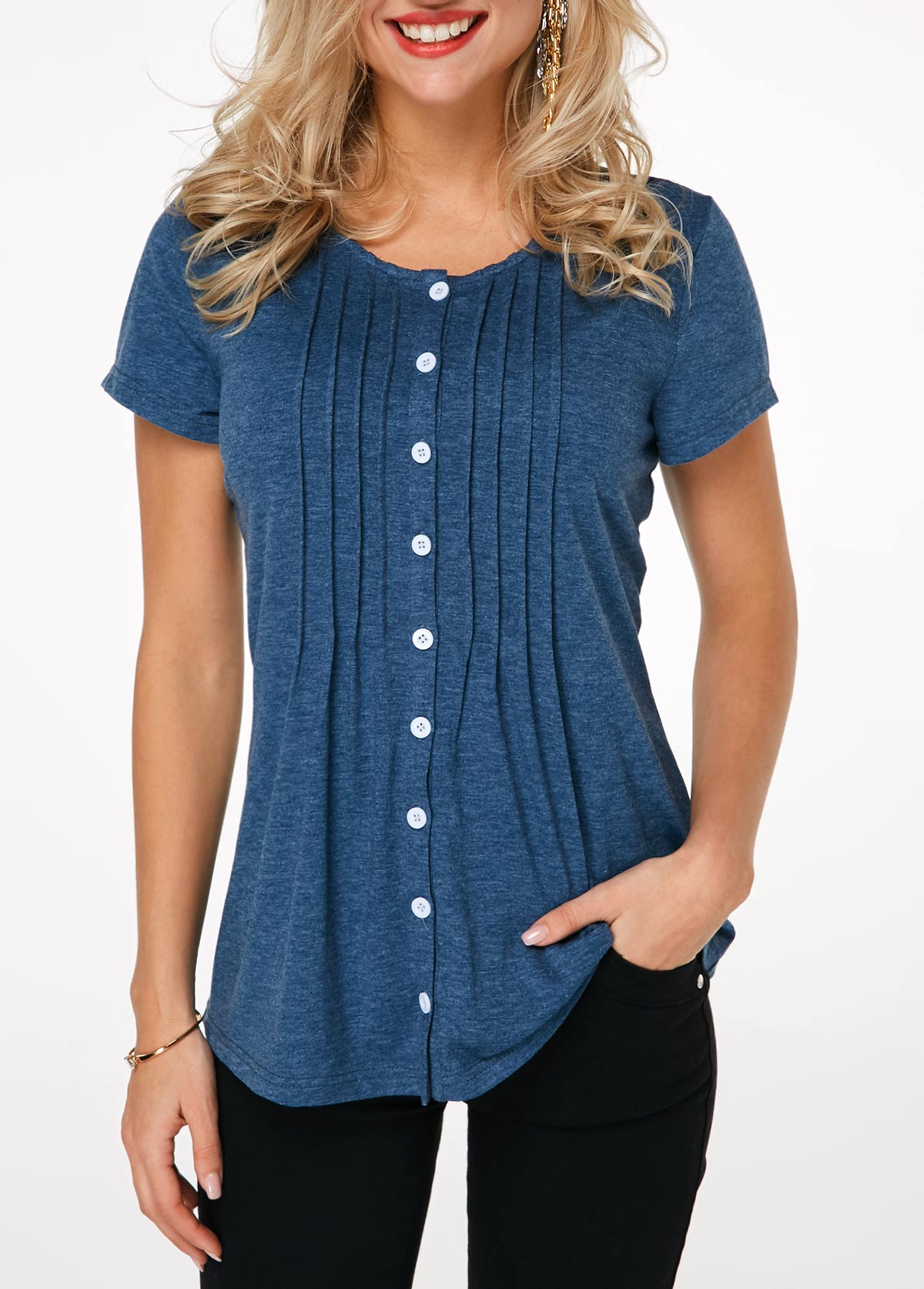 Crinkle Chest Button Up Navy Blue T Shirt