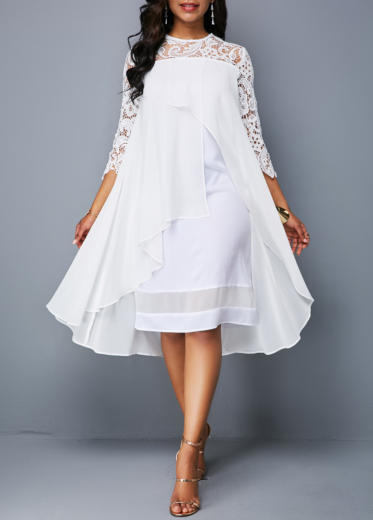 ROTITA Asymmetric Hem Lace Patchwork White Dress