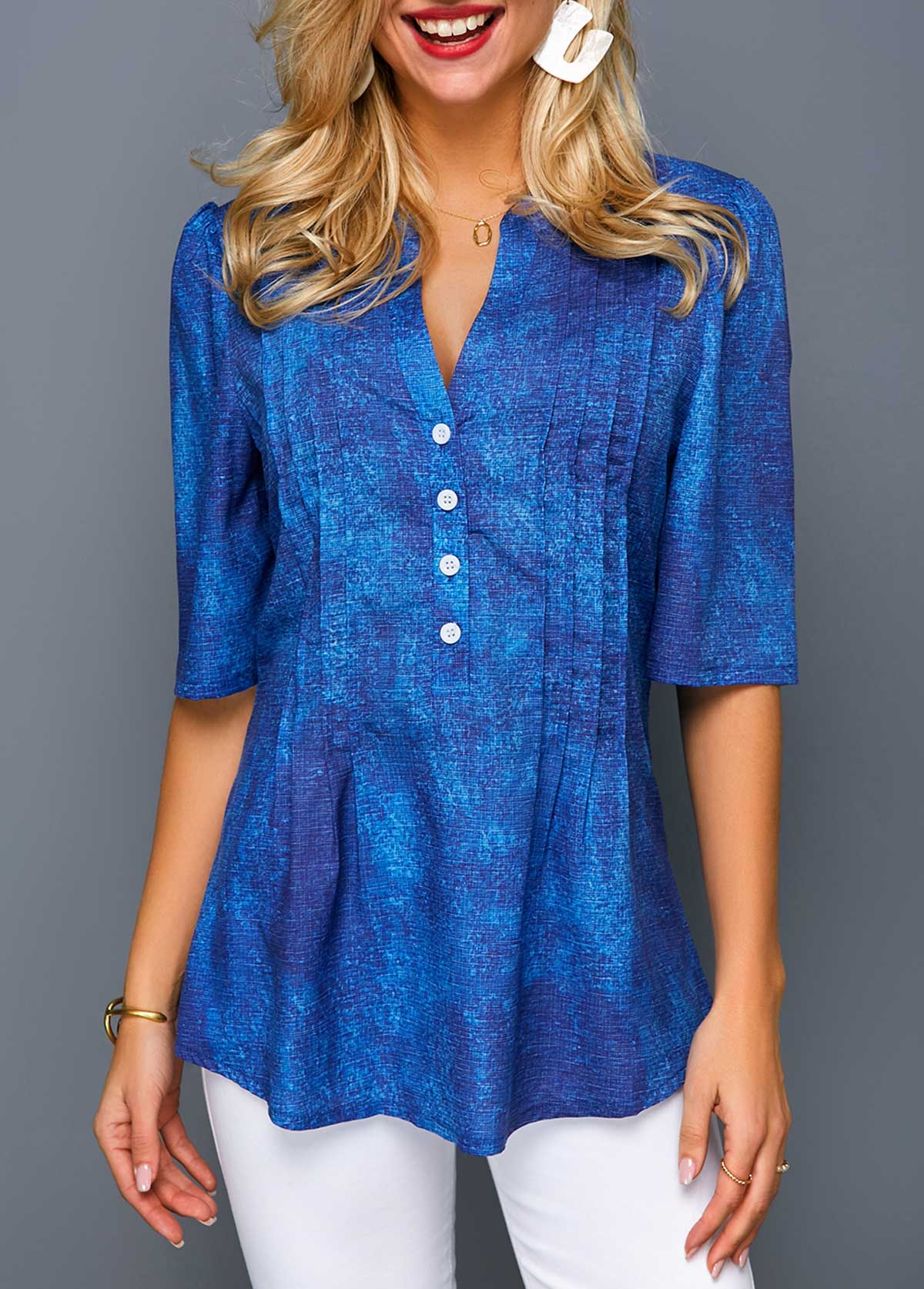 Button Front Half Sleeve Crinkle Chest Blouse