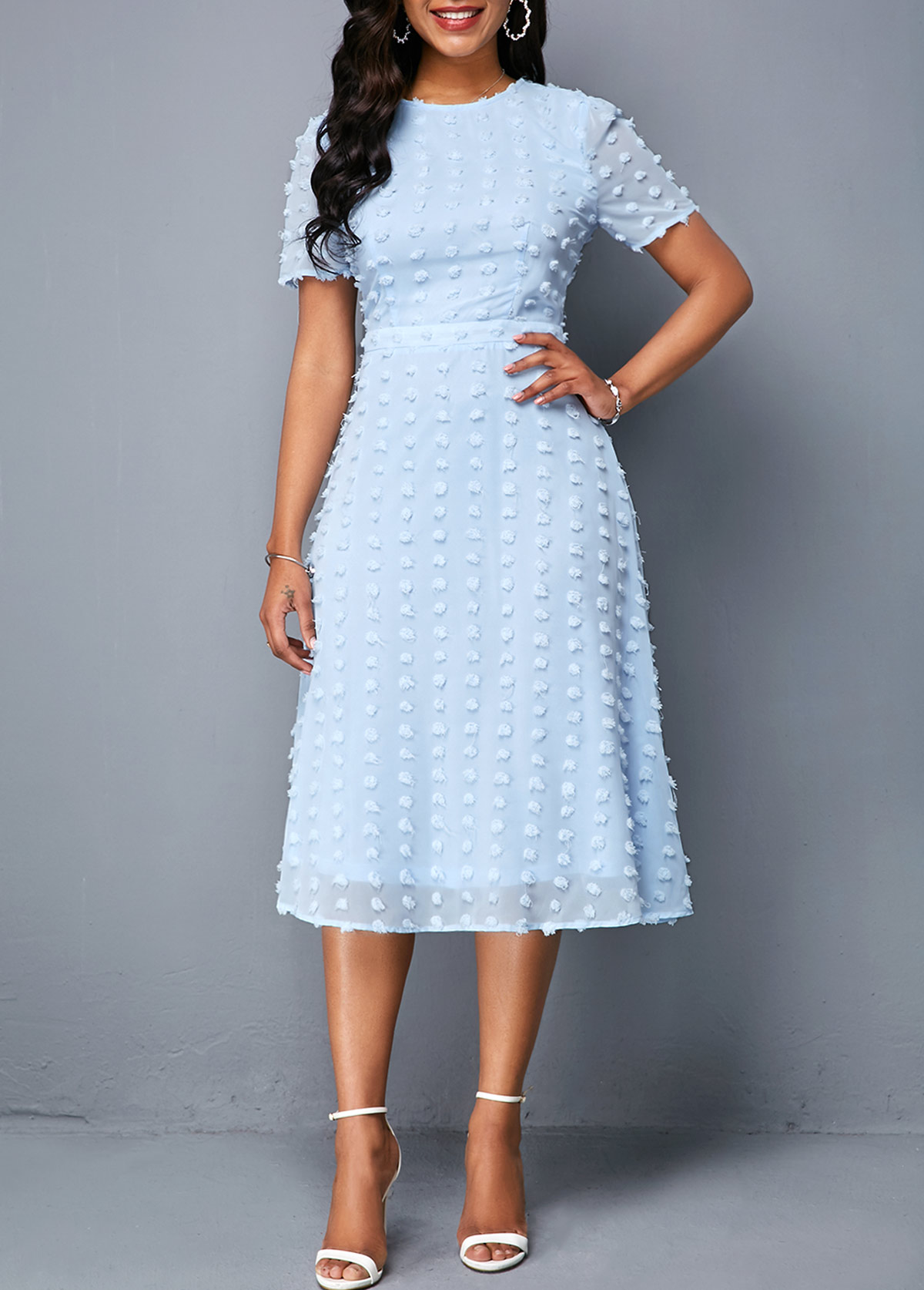 a34fbd9d High Waist Zipper Back Light Blue Dress | Rotita.com - USD $34.98