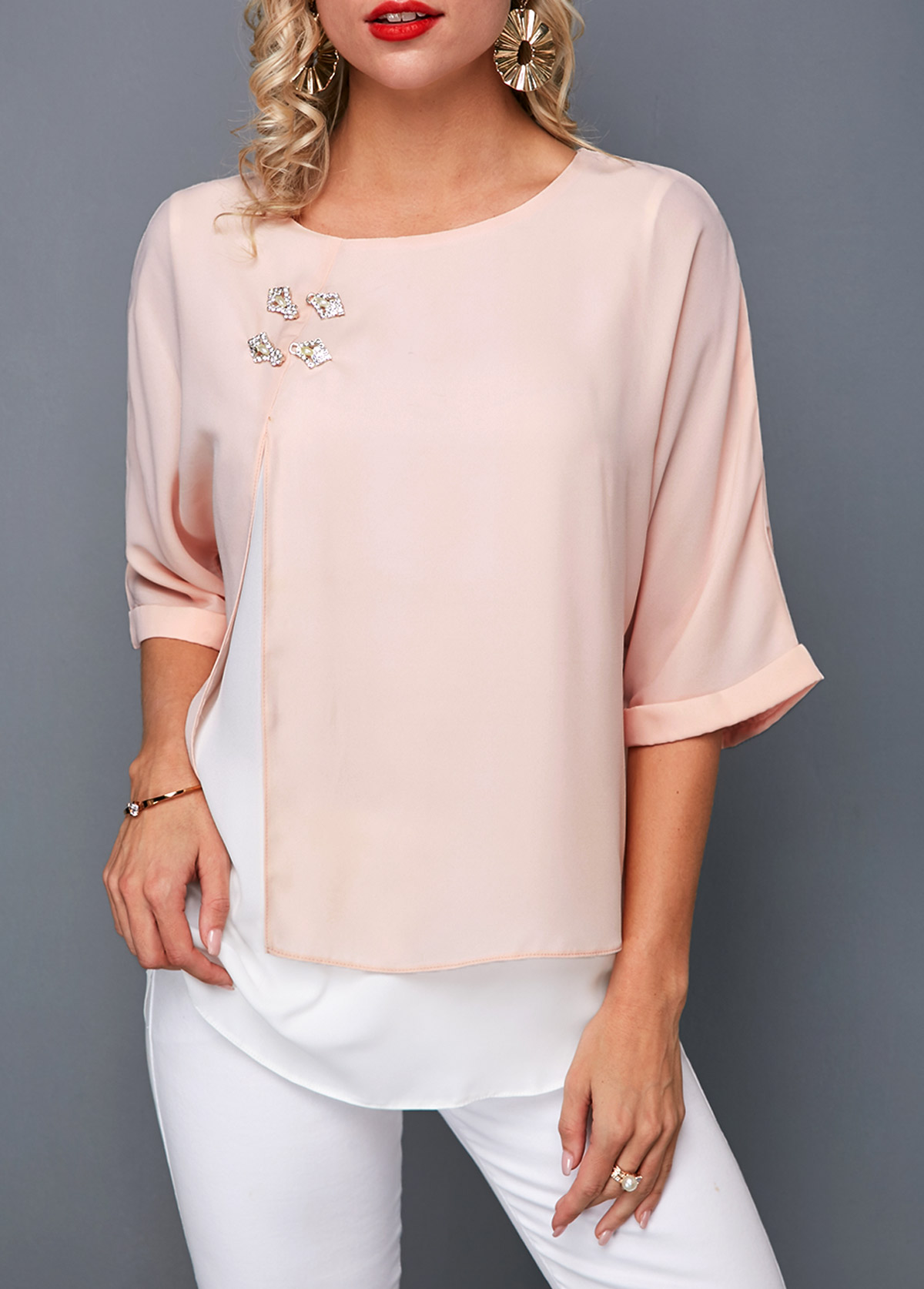 Round Neck Layered Light Pink T Shirt