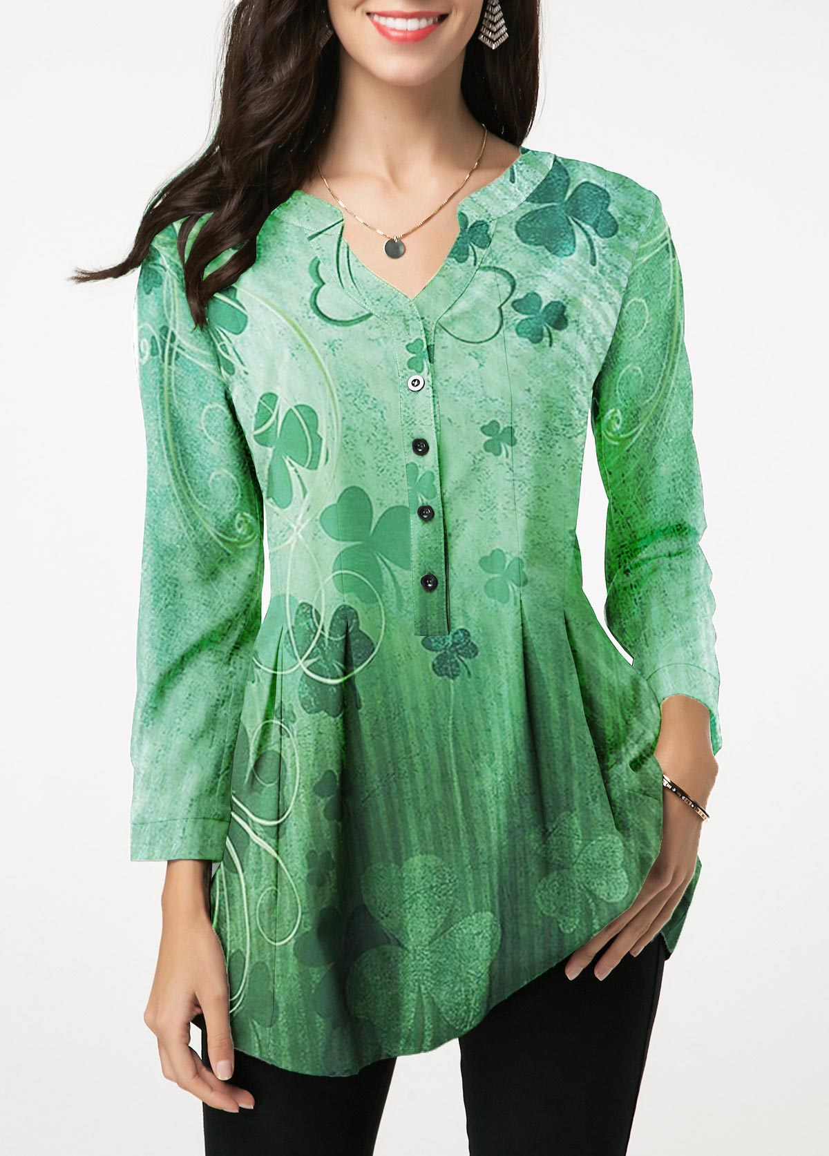 St Patricks Day Split Neck Printed Green Blouse