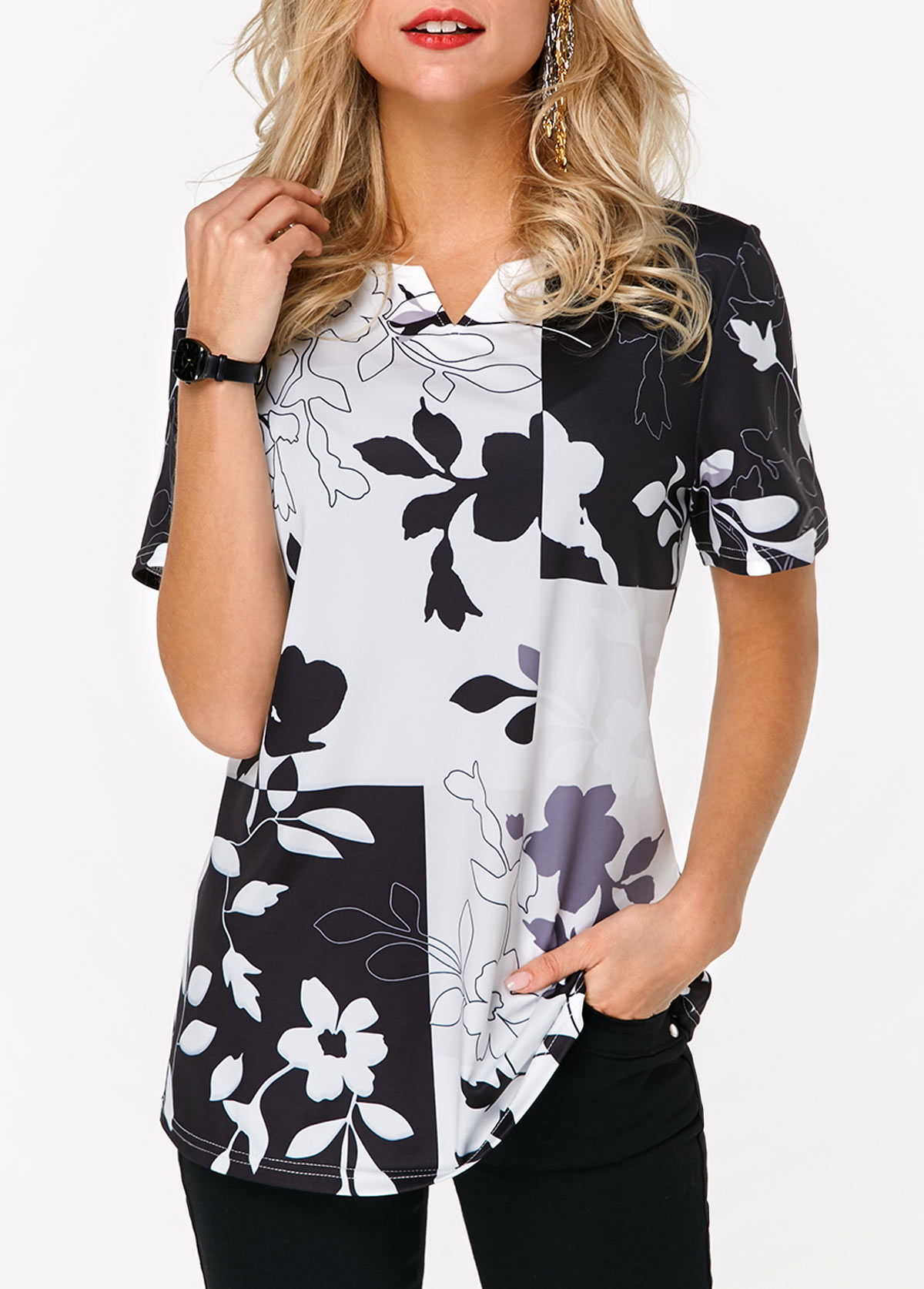 Short Sleeve Printed V Cutout Blouse