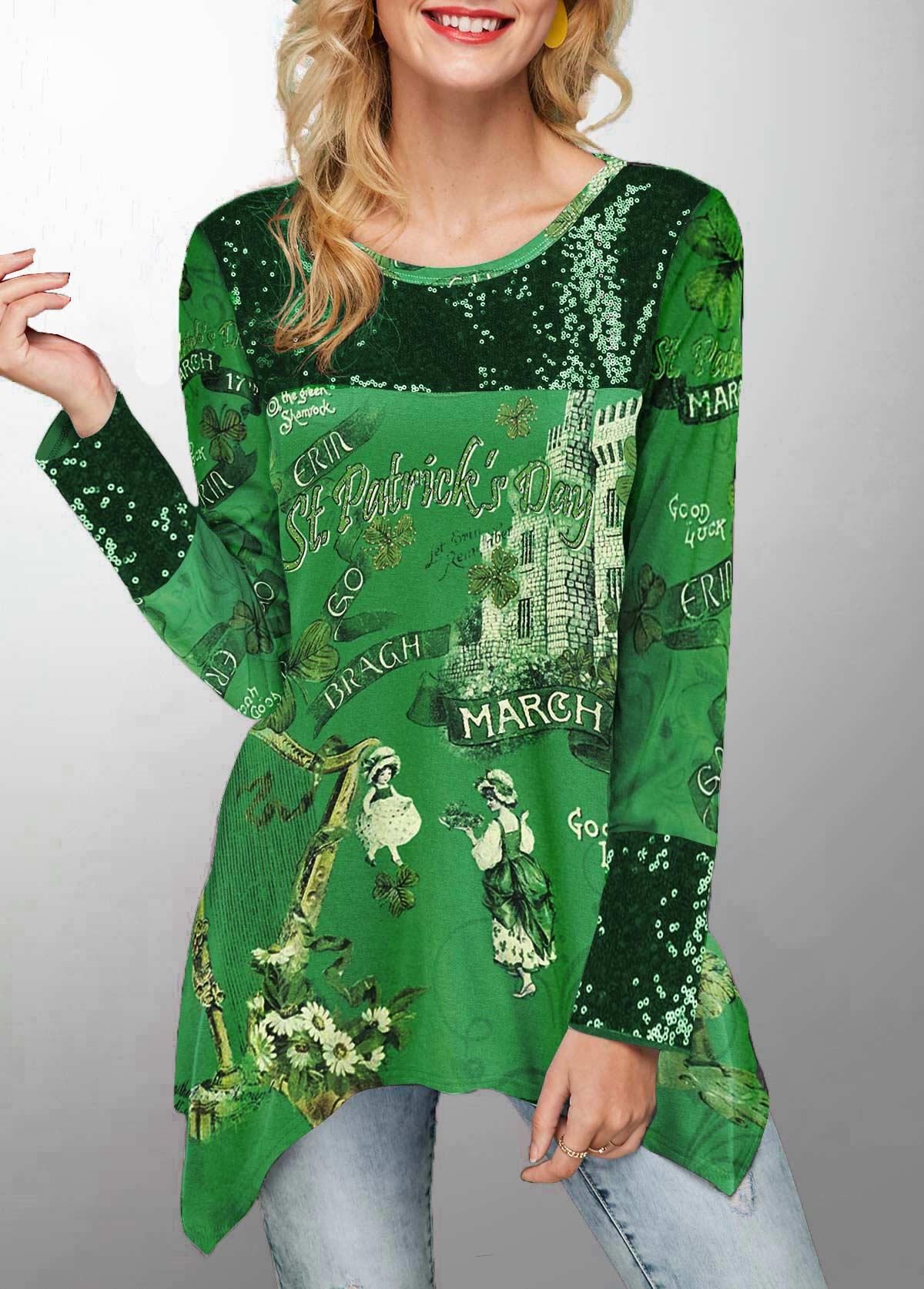 Asymmetric Hem Printed St Patricks Day T Shirt