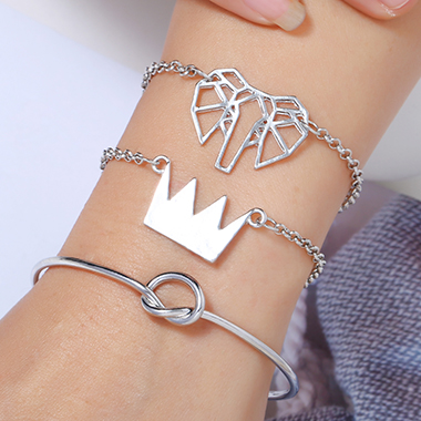 Silver Metal Crown Shape Bracelet Set for Women
