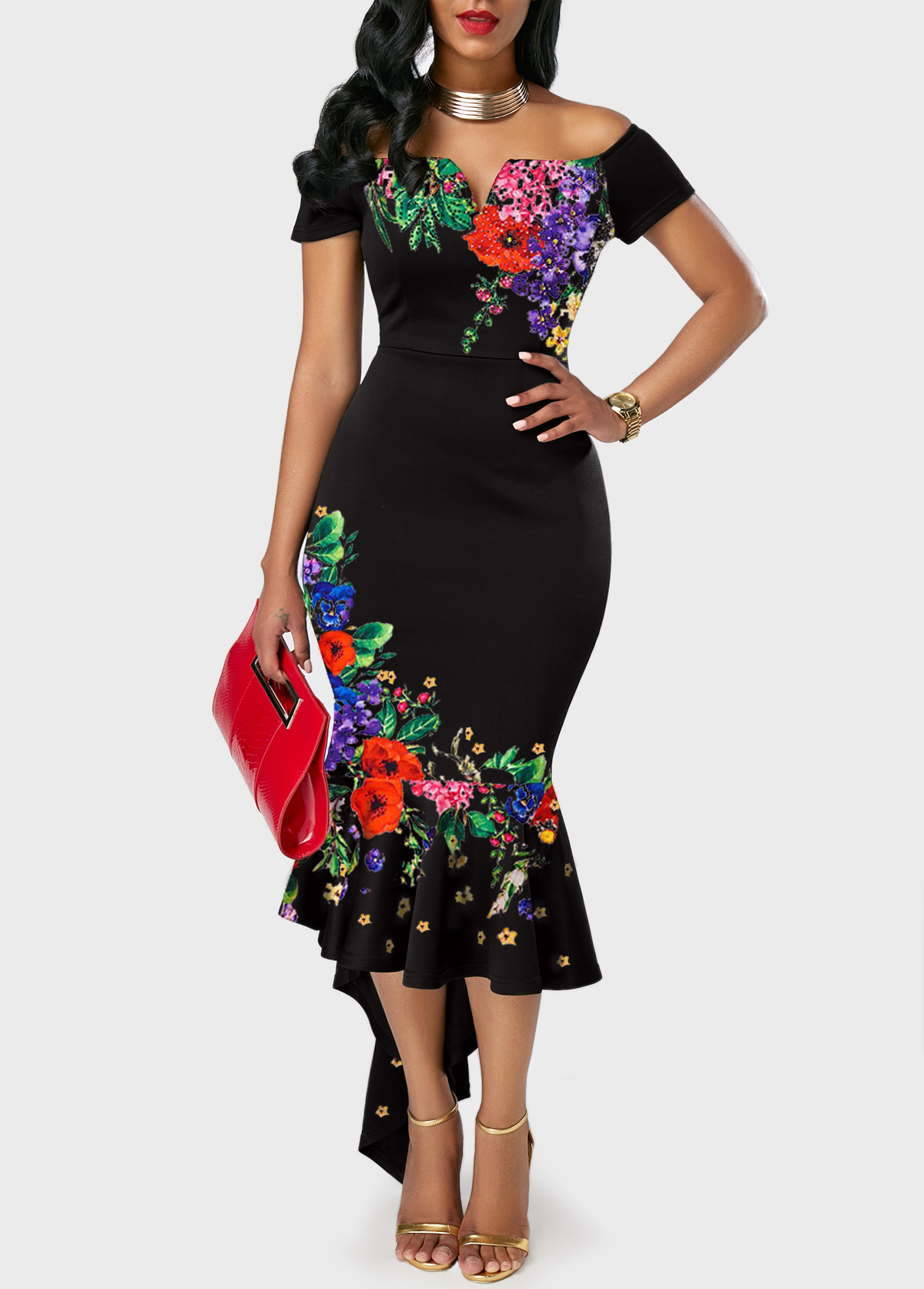 Asymmetric Hem Retro Flower Print Off the Shoulder Dress