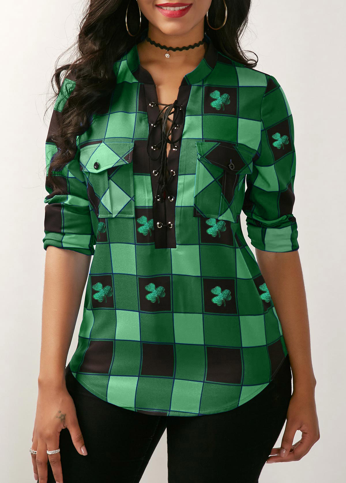 Plaid Print Lace Up Front ST Patricks Day Green Blouse