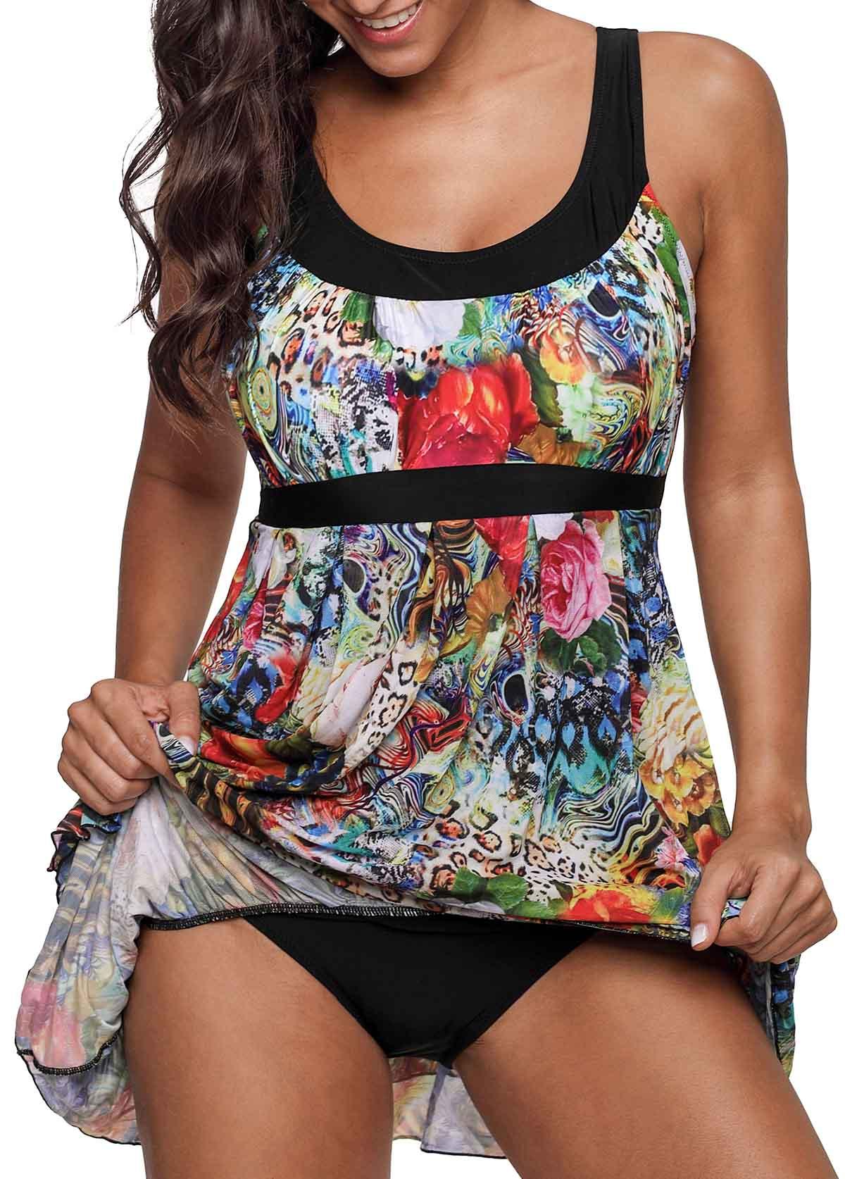 Plus Size Layered Animal Print One Piece Swimdress