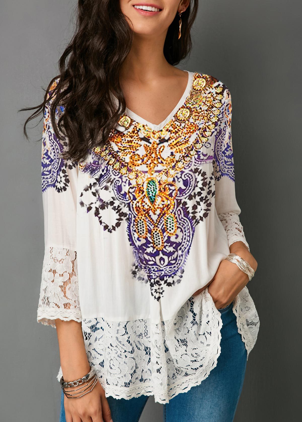 Lace Patchwork Three Quarter Sleeve Blouse