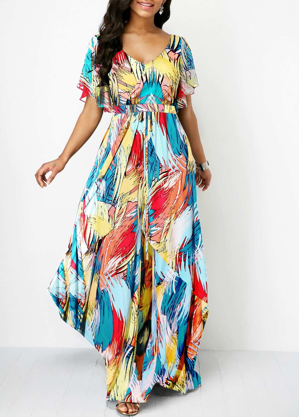 ROTITA V Back Butterfly Sleeve Printed Dress