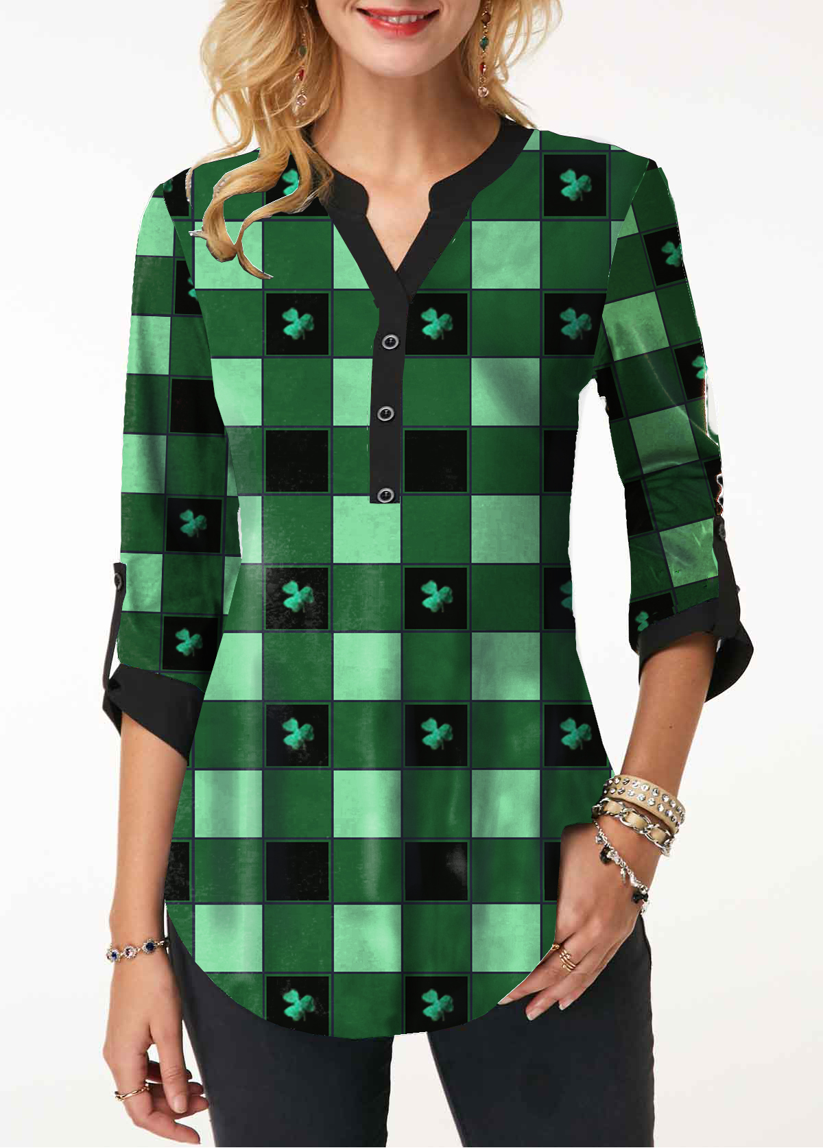 Roll Tab Sleeve Clover Print St Patricks Day Curved Blouse