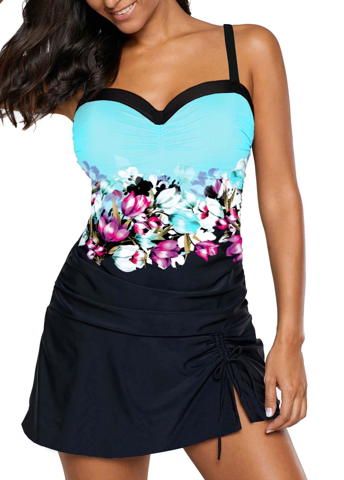 Side Slit Printed Sweetheart Neckline Swimdress and Panty