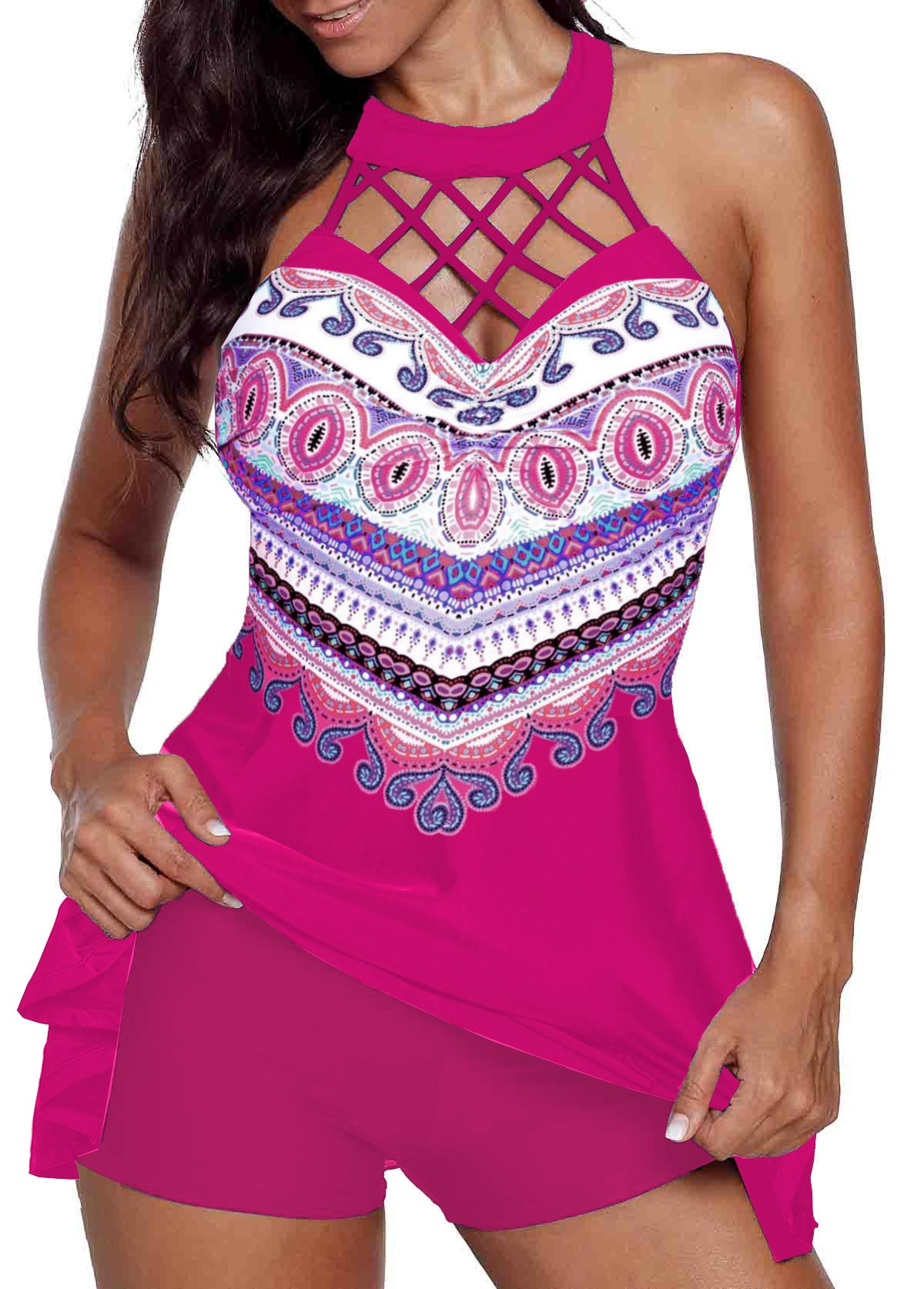 Cage Neck Printed Swimdress and Shorts