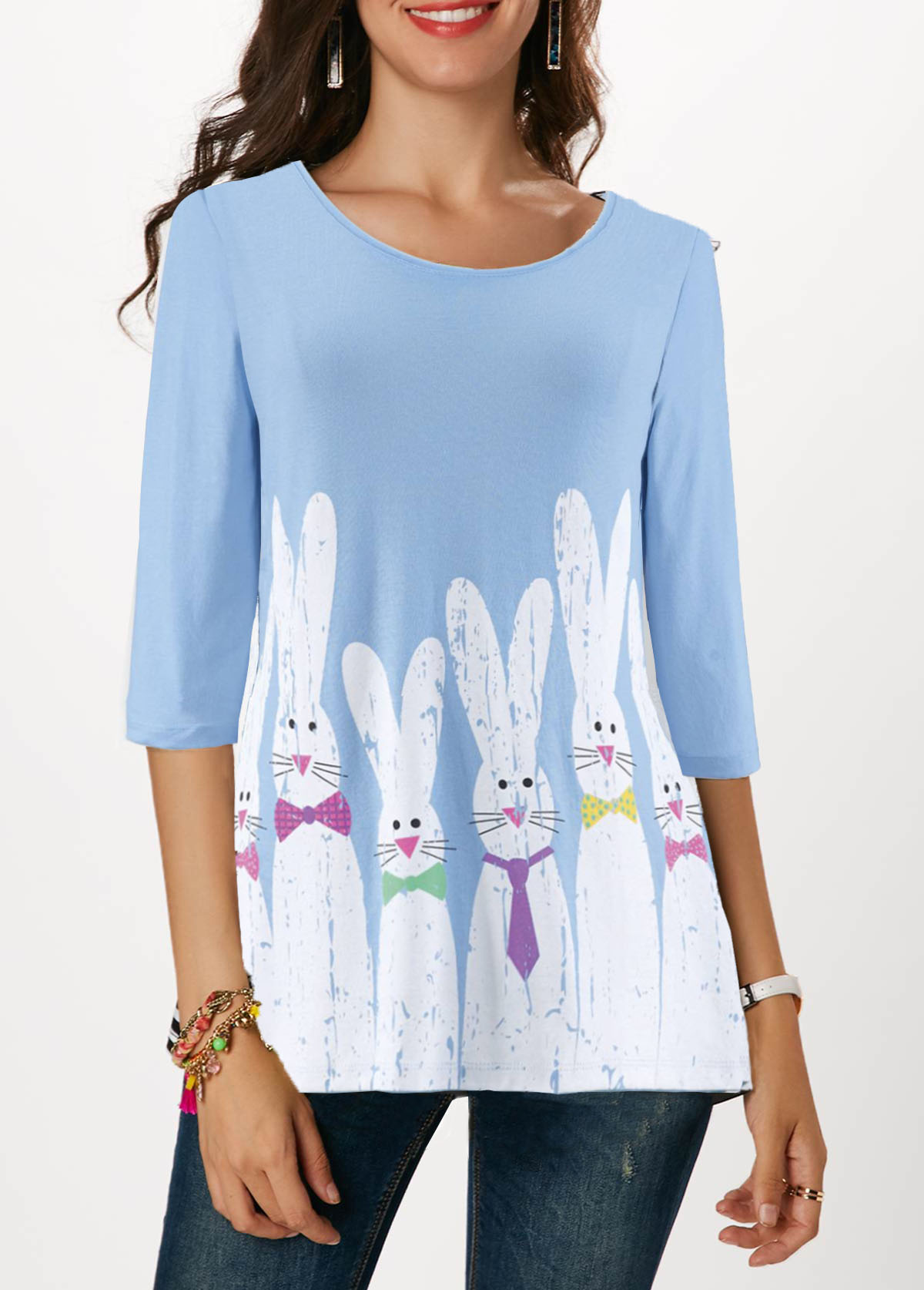 ROTITA Rabbit Print Light Blue Easter T Shirt