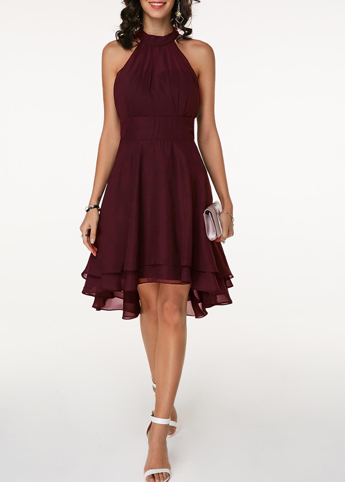 Asymmetric Hem High Waist Sleeveless Chiffon Dress
