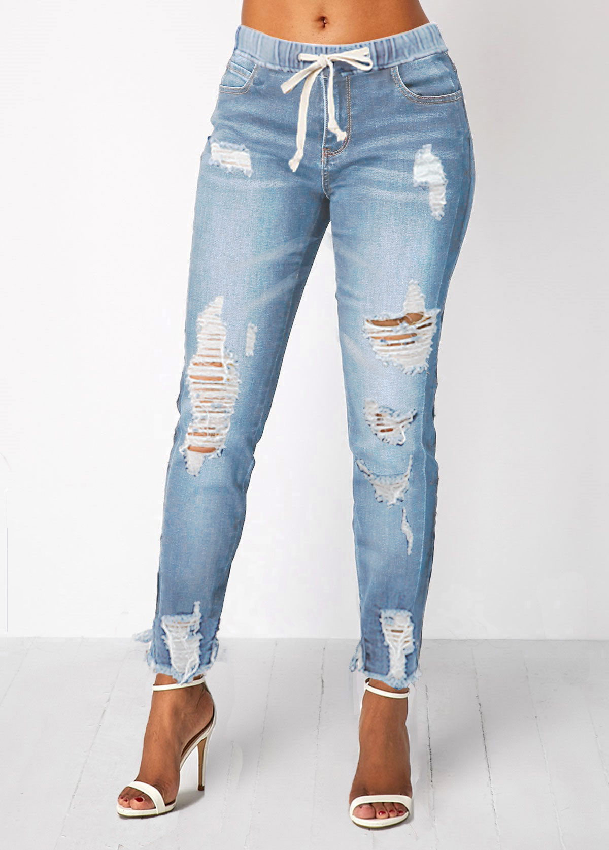 ROTITA Shredded Elastic Waist Pocket Light Blue Jeans