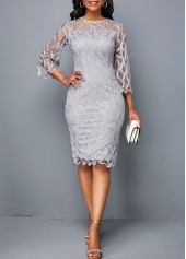 Three Quarter Sleeve Round Neck Light Grey Dress