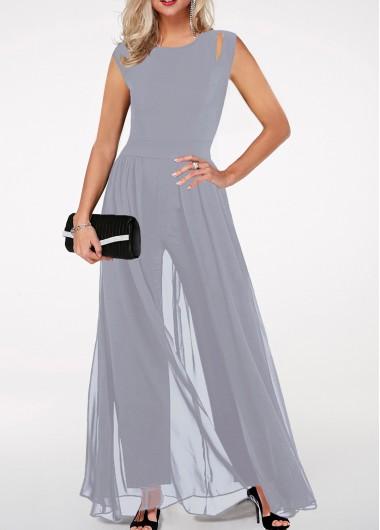 Stalk love high waist round neck chiffon overlay black jumpsuit english lesson prom