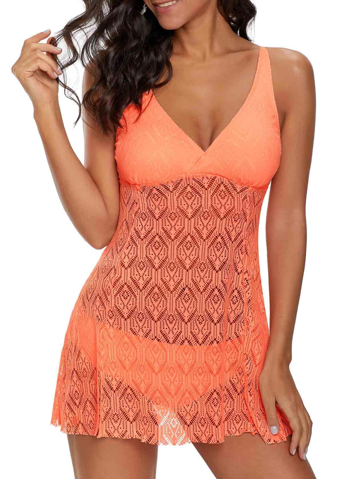 V Neck Laser Cut Coral Orange Swimdress and Panty