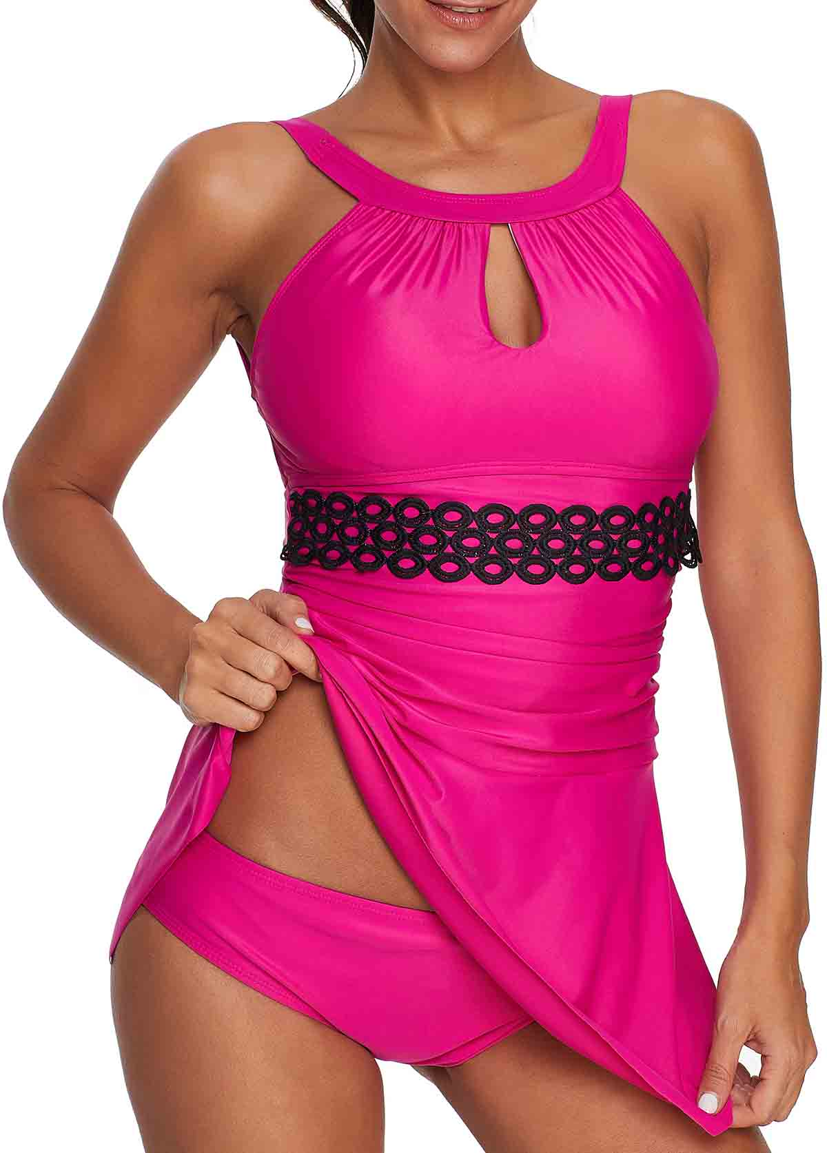 Rose Red Tie Back Wire Free Swimdress
