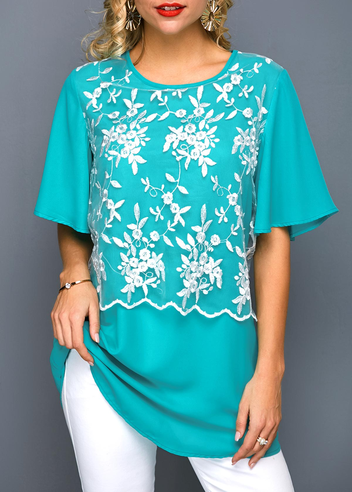 Butterfly Sleeve Round Neck Embroidered Blouse