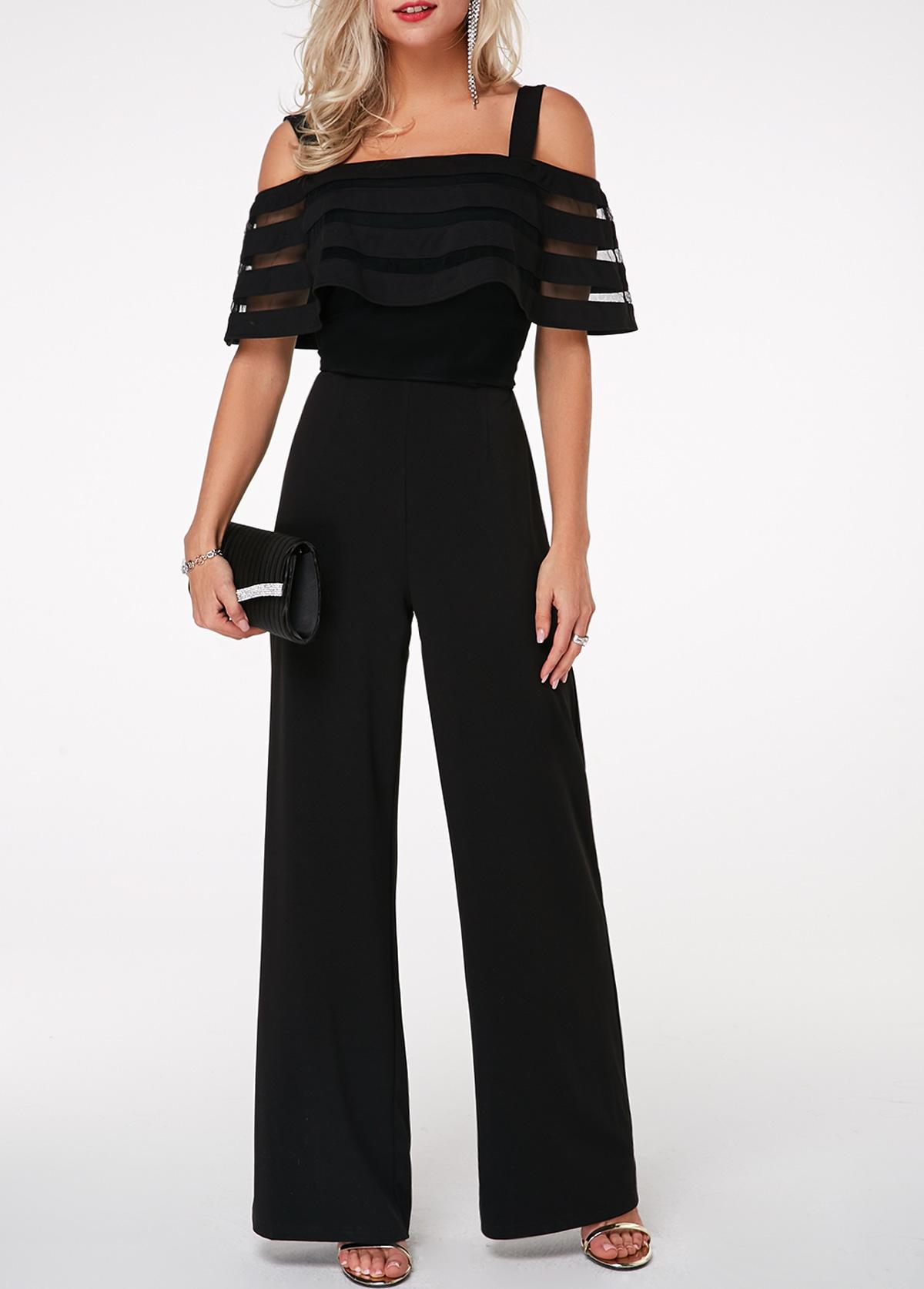 Overlay Embellished Strappy Cold Shoulder Black Jumpsuit
