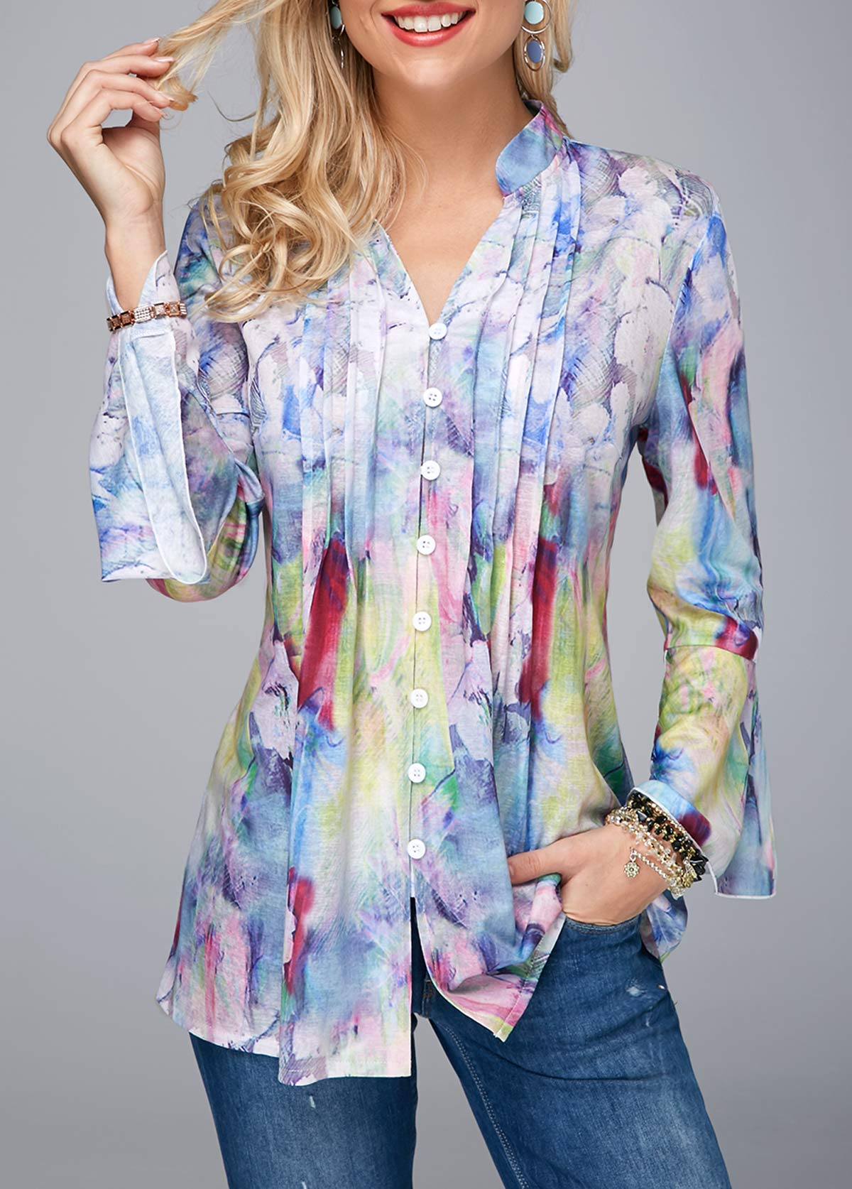 Crinkle Chest Split Neck Flare Cuff Blouse