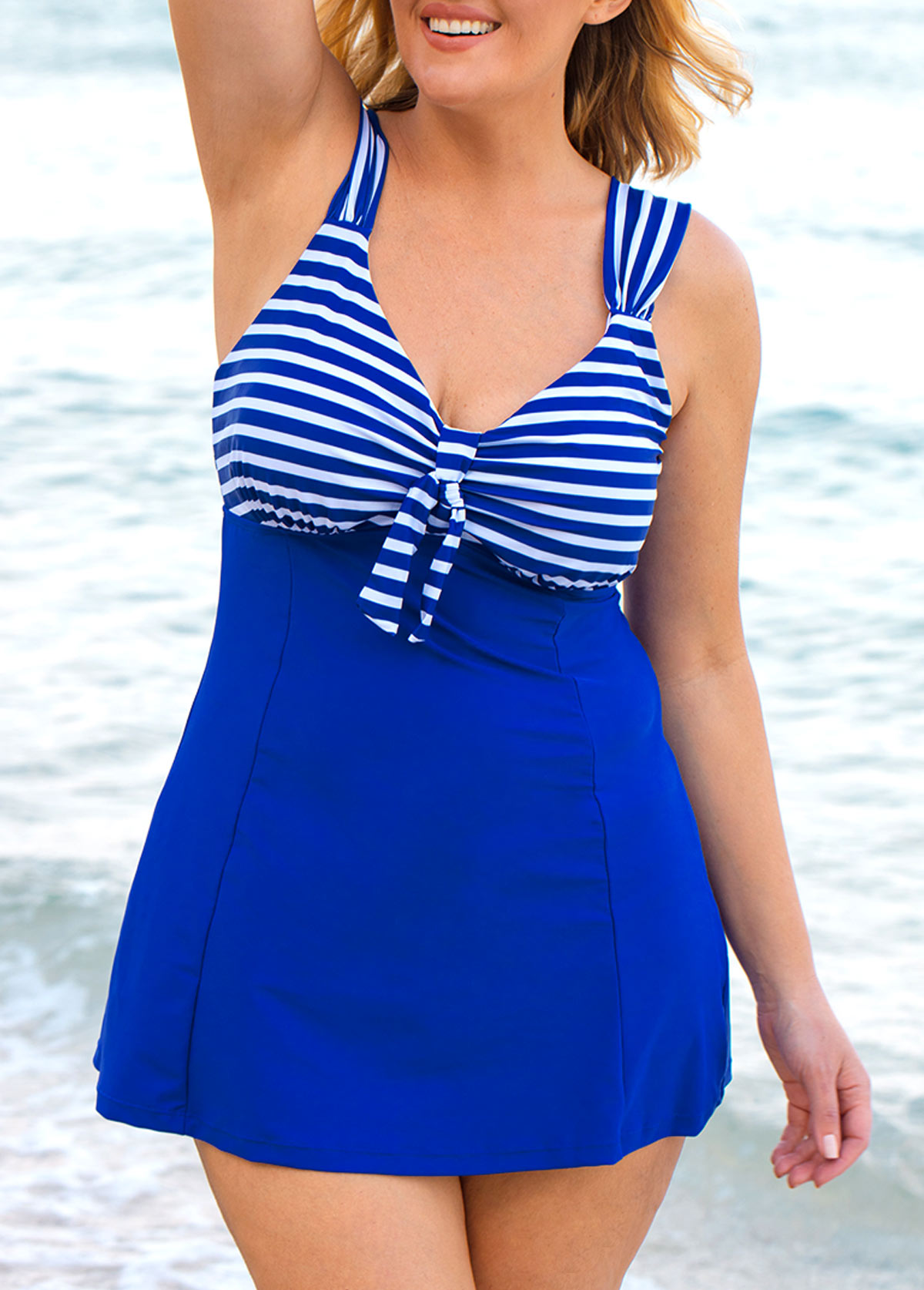 Plus Size Striped Royal Blue Swimdress and Shorts