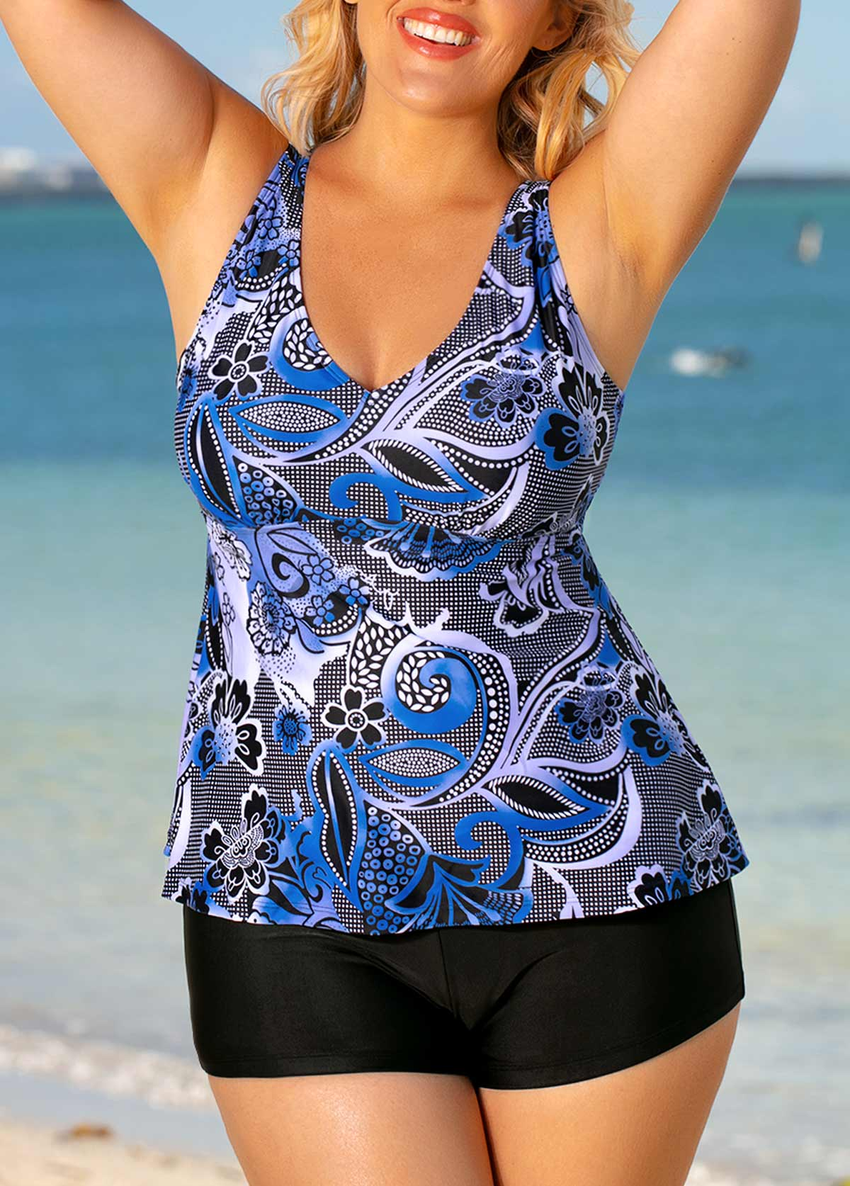 Flower Print Blue Plus Size Tankini Set