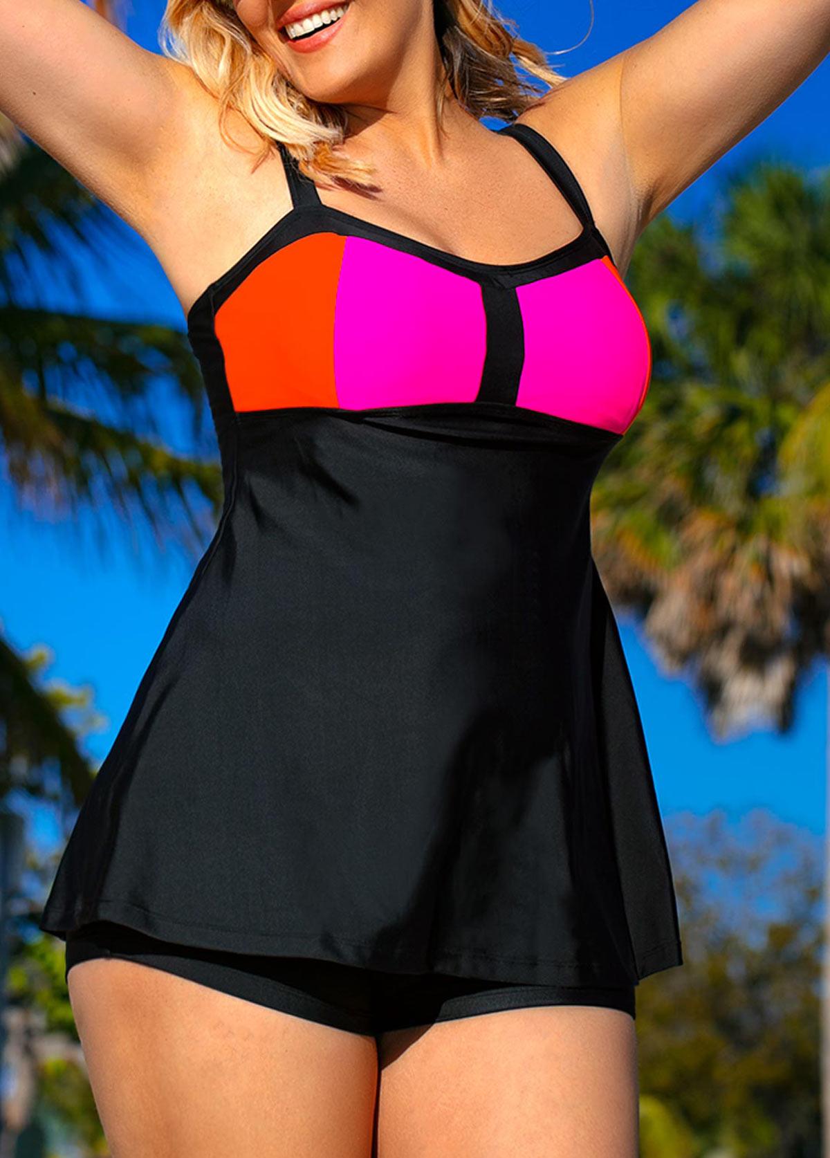 Plus Size Black Spaghetti Strap Swimdress and Shorts