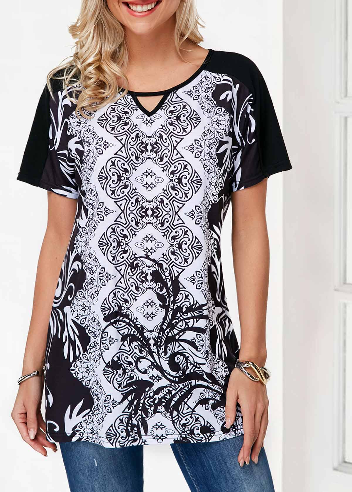 Raglan Sleeve Keyhole Neckline Tribal Print T Shirt