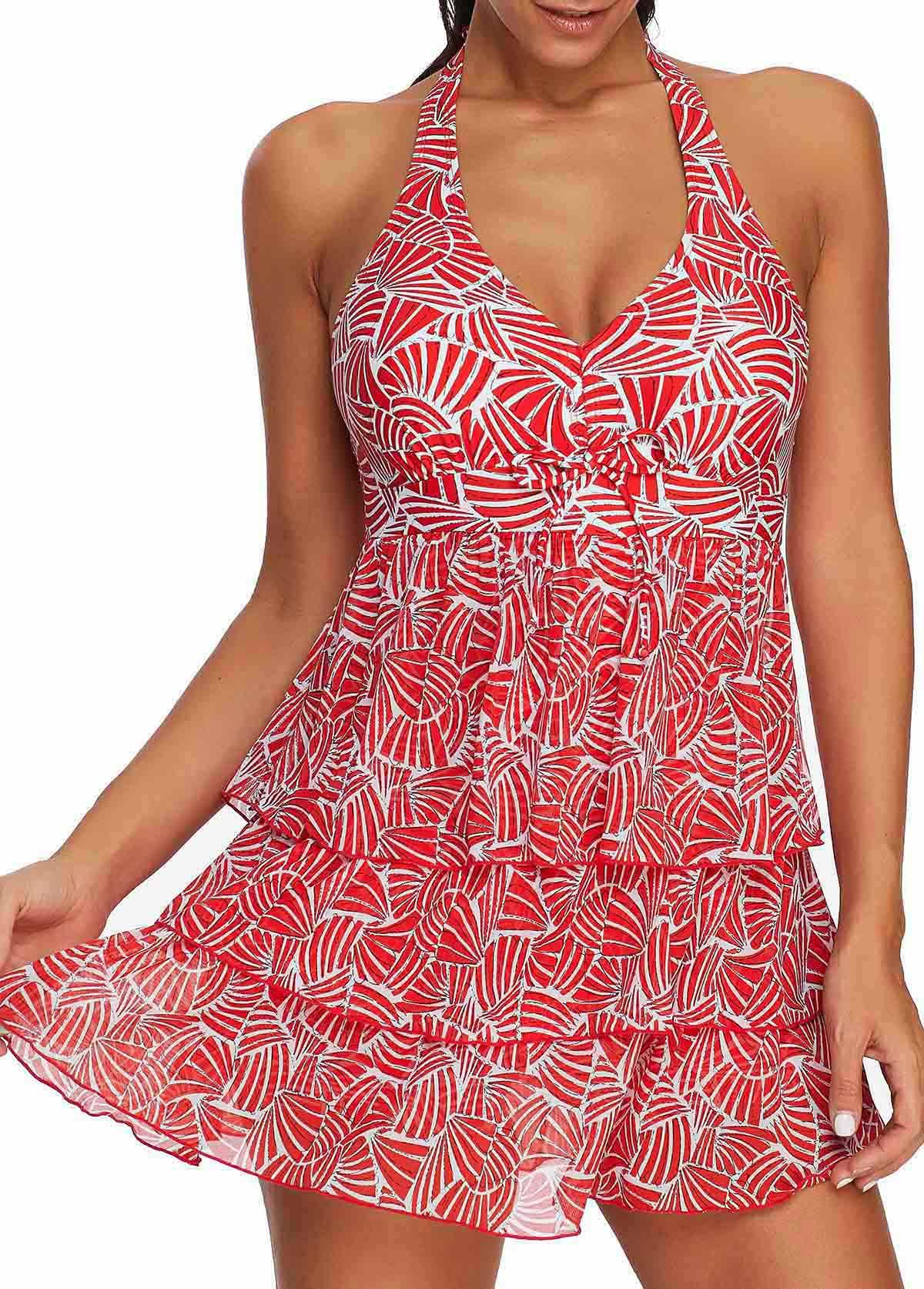 ROTITA Printed Layered Red Halter Swimdress and Shorts